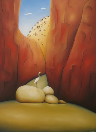 """Egret In Stanley Chasm""    Oil on canvas  Size: 76cm x 101cm   Price: SOLD"