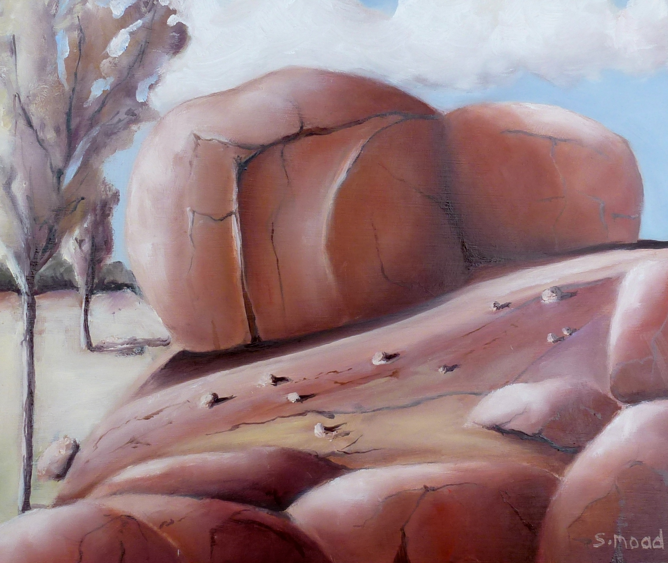 """Two Boulders On A Ridge""     Oil on masonite    Size: 30cm x 25cm / 12"" x 10 inches"