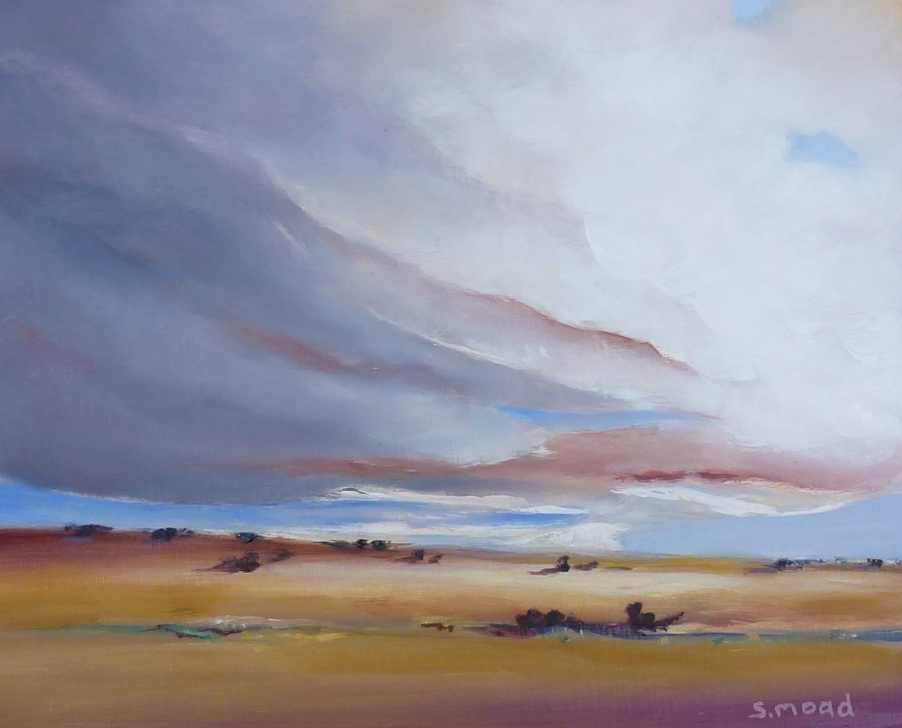 """Summer Clouds Over The Valley""     Oil on masonite    Size: 30cm x 25cm / 12"" x 10 inches     Price: $900 (Framed)"