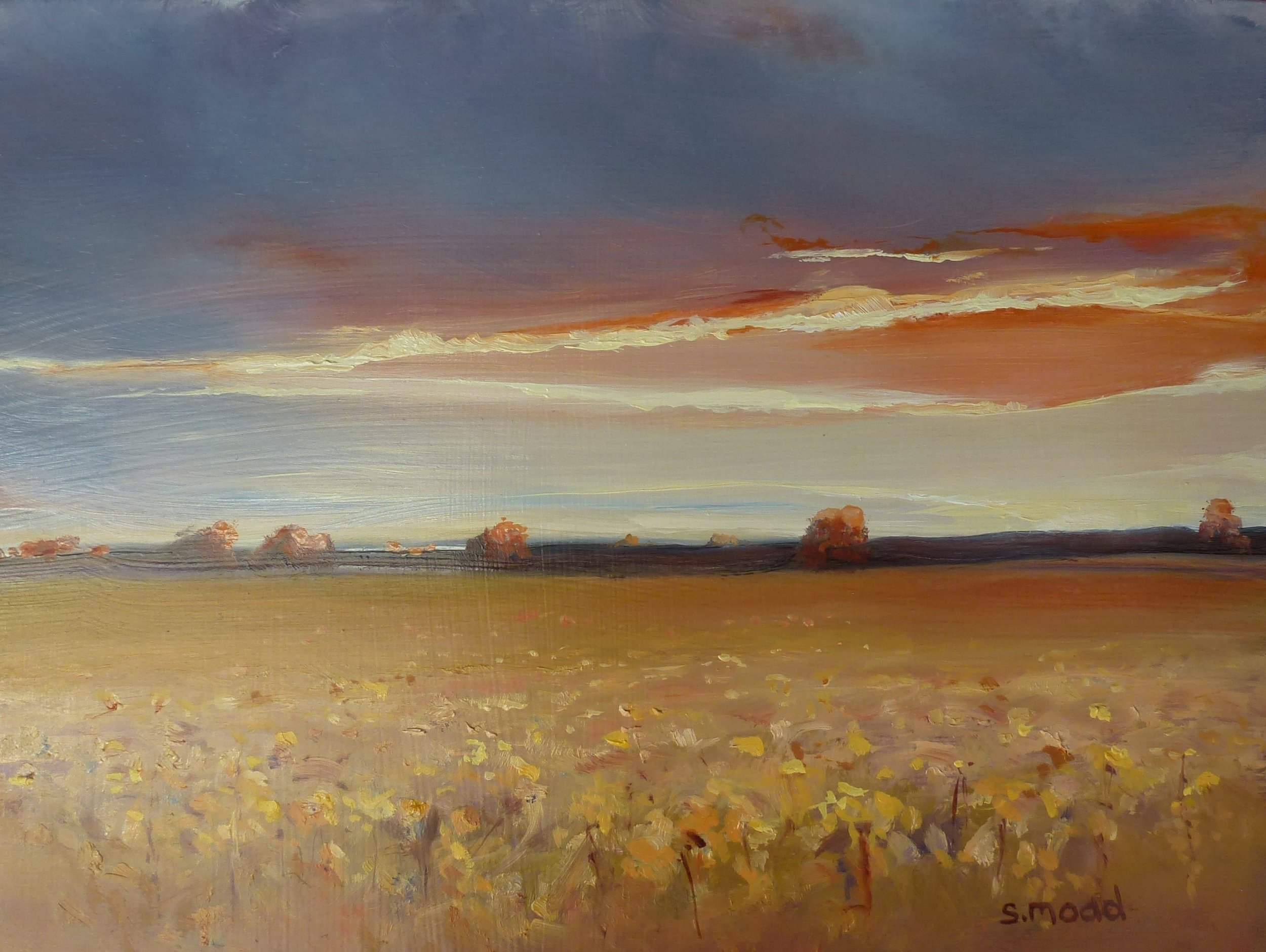 """Sunset On The Canola - beverley Western Australia""   Oil on masonite  Size: 30cm x 23cm  Price:  $1,400    SOLD"
