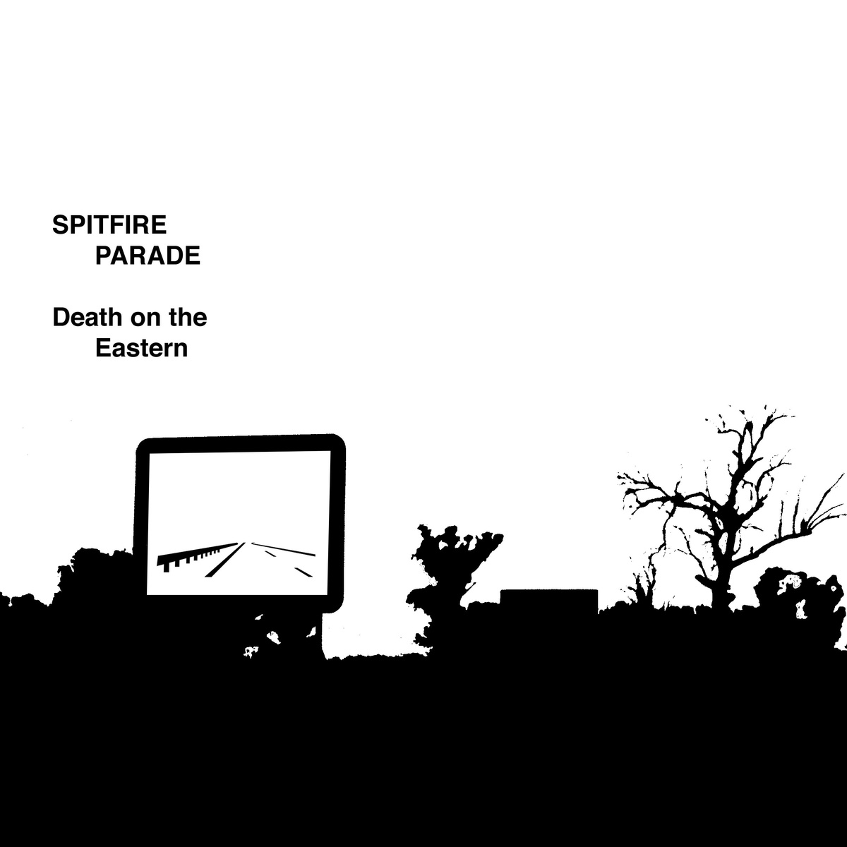 """DEATH ON THE EASTERN (Spitfire Parade album)   CYCLIC DEFROST  Melbourne-based four-piece band Spitfire Parade describe their sound as """"electronically enhanced Ballardian drone-punk"""", and this latest independent release 'Death On The Eastern' follows on from several other Bandcamp releases over the past year and a half, the most recent being 2009′s 'Now' remix collection. When I listened to the intro track here, 'Slaughterhouse Of Failure', which opens from what sounds like a stolen answering machine sample of an elderly relative leaving a message about dinner, only for buzzing, 'mock-inspirational' analogue synths and ascending metallic guitar solos to suddenly lock in around samples of a motivational religious speaker [in 'This Time'], the first associations triggered here for me were early nineties Sydney electro-punk pranksters Mr Floppy. Indeed, the punky, deliberately primitivist ['Seconds'] certainly calls to mind at least a few flashbacks to Mr. Floppy's classic 'Homebrew', with its yelled, thuggy vocals and Suicide-style blur of cheap drum machine rhythms, but in this case, it's more a Buzzcocks meets Primal Scream circa 'Xtrminator' vibe that Spitfire Parade are really going for.  There's certainly an impressive amount of lateral experimentation going on amongst this album's comparatively brief 36 minute running time, ranging from 'Rattlesnake's jagged fusion of free-jazz horn bursts, sinuous post-punk bass figures and chaotically manipulated samples, through to 'Heatwave's virtual car chase theme, which even manages to throw a mass of video game-style police sirens beneath the trip-hammer drum machines and Mission Of Burma-style punky vocal hooks, and 'When I Get Home's moody flameout of Joy Division-esque guitar noise and tribal programmed rhythms. While the references are often easily to pinpoint here though, in this case it's the quality of the songs themselves that really counts, making Spitfire Parade considerably more than just another in the seemin"""