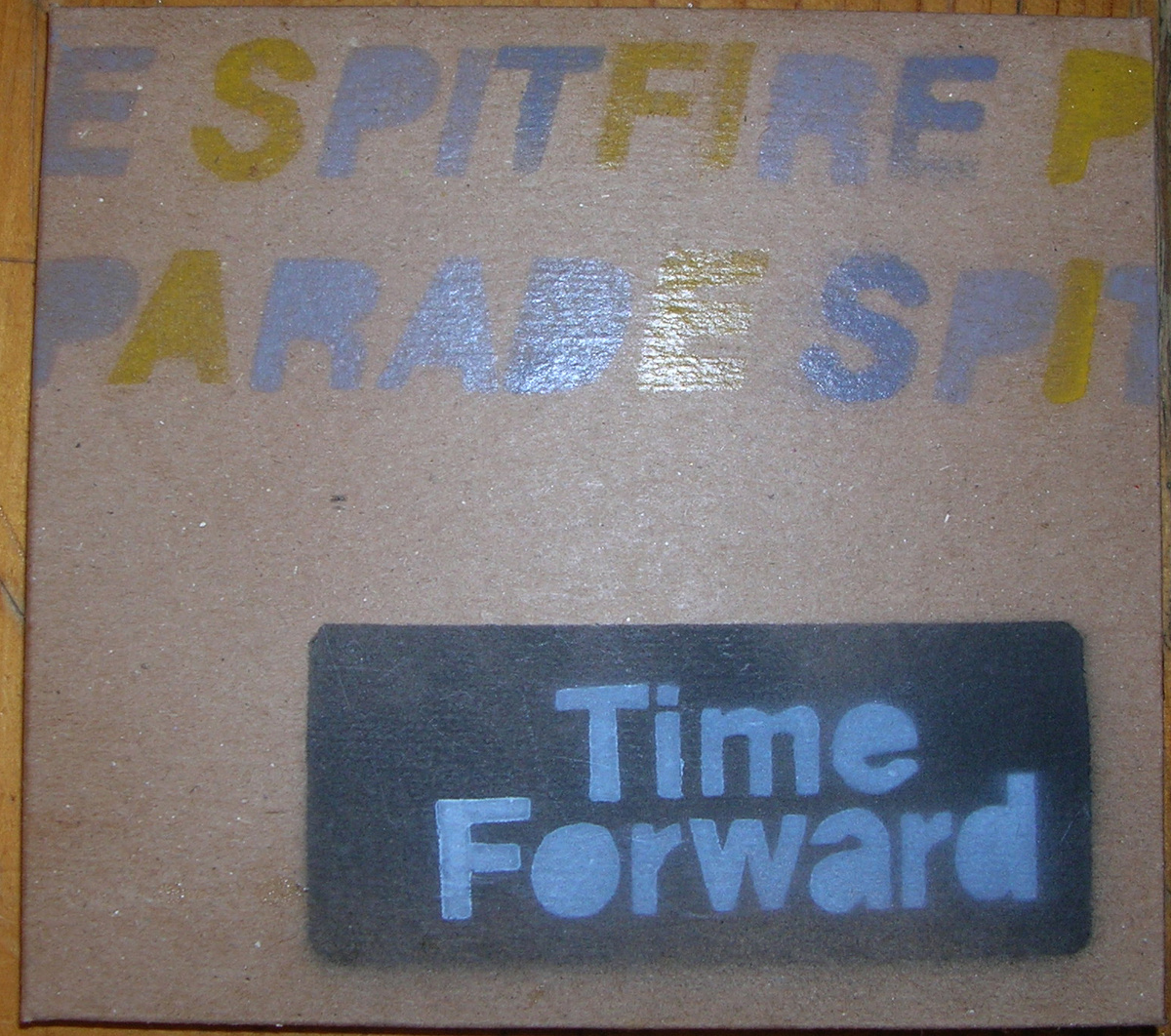 """TIME FORWARD (Spitfire Parade EP)     MESS & NOISE  The name of this band would suggest an anglophile bent – whether referring to the famous WWII fighter plane, the classic Triumph sportscar, the 1966 BSA motorbike or the 10 Royal Navy ships that bore the moniker Spitfire. A casual listen to their music might even bear this out, with its nods to the British punk of Wire and The Buzzcocks. But as much as 'Parallel Gram' – the first track off Spitfire Parade's new EP Time Forward – spits and snarls with punk energy, buzzsaw guitars and a hyperactive rhythm, the vocal is curiously at odds with its skip-hop phrasing and parochial accent. Not that I have anything against Australian rap – I just didn't expect it. Full marks to the band for putting their most atypical song first on a CD though.  Full marks also for the spray-painted, collaged cardboard covers. Spitfire Parade's hands-on approach to artwork reflects the DIY spirit of their music. This band is clearly not in it for money or fame, but for the sheer love of making a racket and writing streamlined power-pop nuggets that burst with melodic hooks. Much of this is due to the combination of driving guitar and drums that appear to be played over the top of a drum machine beat; a neat trick that harks back to mid-'80s production techniques, but is generally shunned by today's retro rockers.  The prominent melody lines are supplied by a wheedling analogue synthesizer, played in the classic one-finger style. On songs like 'Acid Tongue' and 'Saw Her Around' they exhibit inner-city post-punk tones that would have been right at home on the Dogs In Space soundtrack.  The stand-out track, however, is 'Mint Edition', which has hit single written all over it. With its see-sawing bass line and killer sing-along chorus, """"Last night I dreamed/I held you in my arms/You were big and strong/Protecting me from harm"""", this song is a dance floor filler if ever I've heard one. It provides a tantalising glimpse of Spitfire Parade's cons"""
