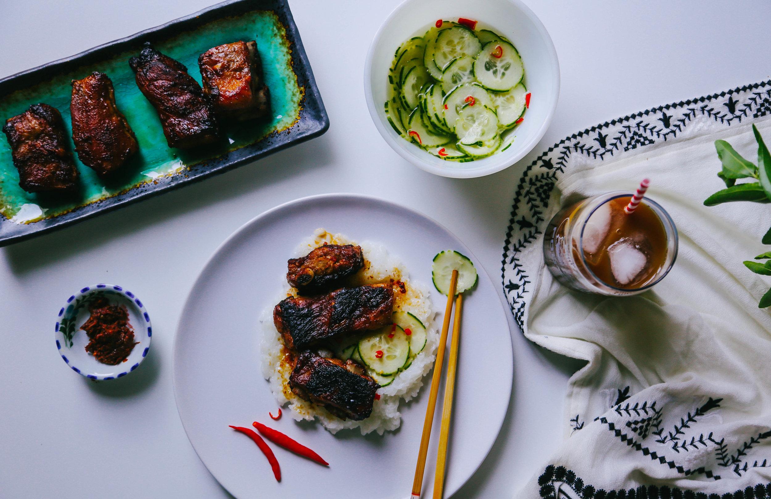 jaew bong ribs and cucumber salad