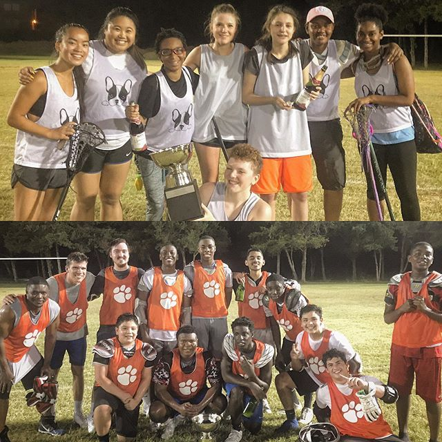 Here they are! Our inaugural BRIDGE SUMMER LEAGUE CHAMPIONS! Seven weeks of lacrosse, more than 110 participants, so many lost lacrosse balls in the Trinity Forest, and we have just two champions standing! Shoutout to the Bulldogs for pulling the upset over the undefeated Turtles and to the Tigers for an absolute battle against the Trolls. This is now one of our favorite new programs and events! We loved seeing every member of the family playing, fathers/sons, mother/daughters, returning alumni, Bridge donors and everyone in between. Thank you #bridgefamily for a really fun first year of the BSL! Off-season begins tomorrow. Coach Eric and Coach Karem, take care of those 🏆🏆, we are all coming for you next year!