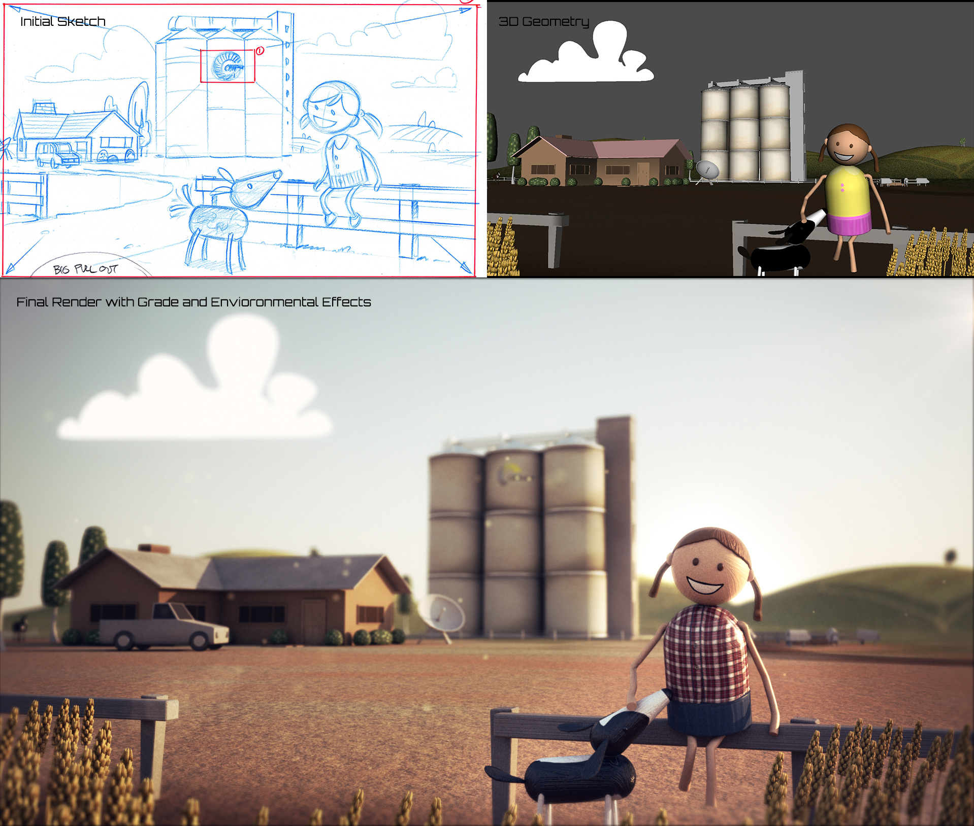 From top left,  initial sketch, top right 3D models assets created and placed into set, final render with grade and environmental effects such as depth of field sunrays and particles.