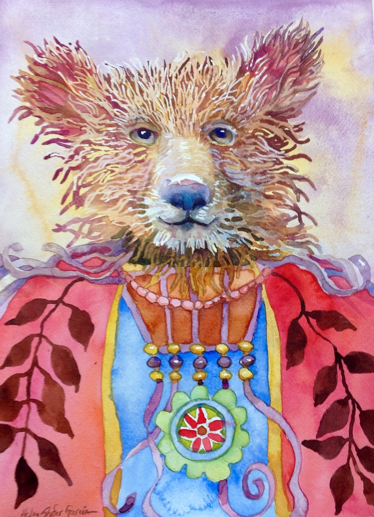 "Oso Chico watercolor, 2015 14"" x 10"""