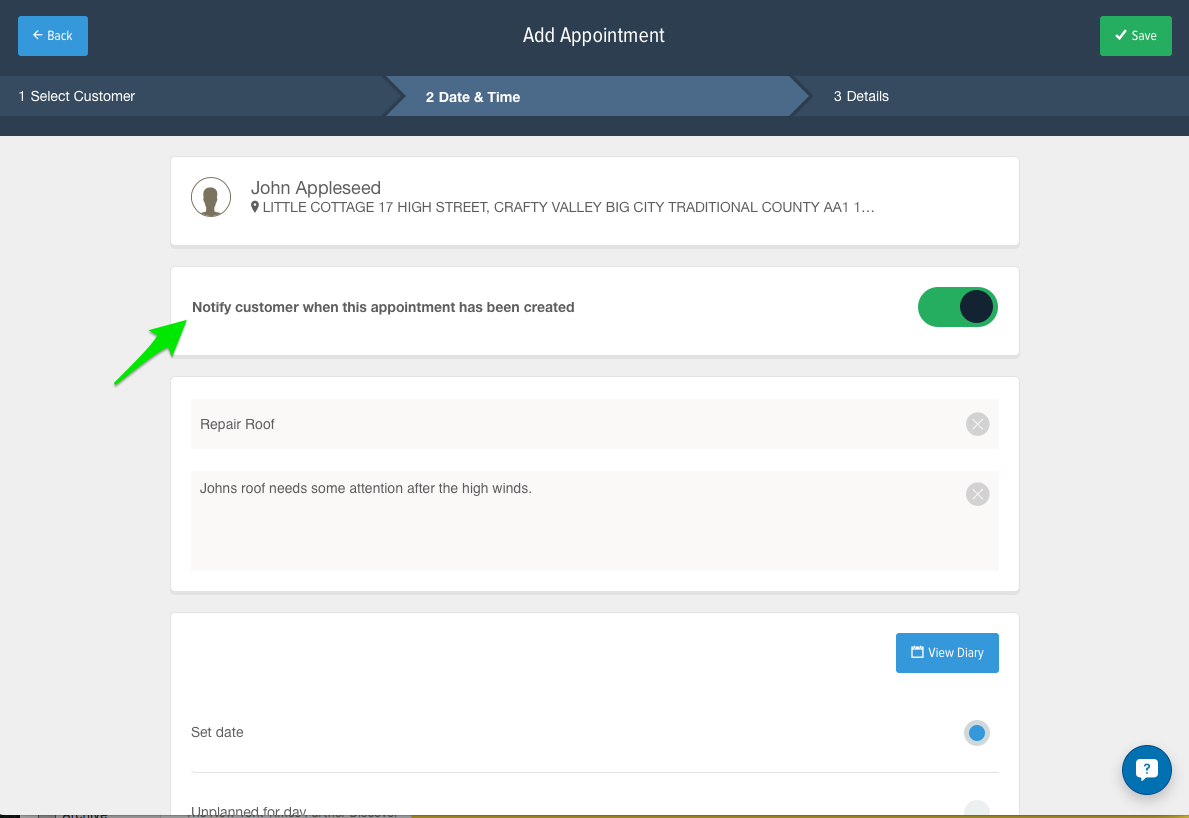 Send customers appointment notifications directly from the diary