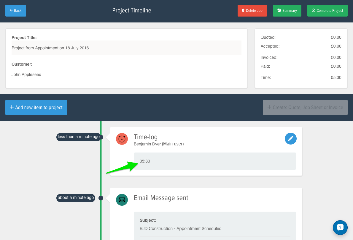 Time is recorded on the project timeline
