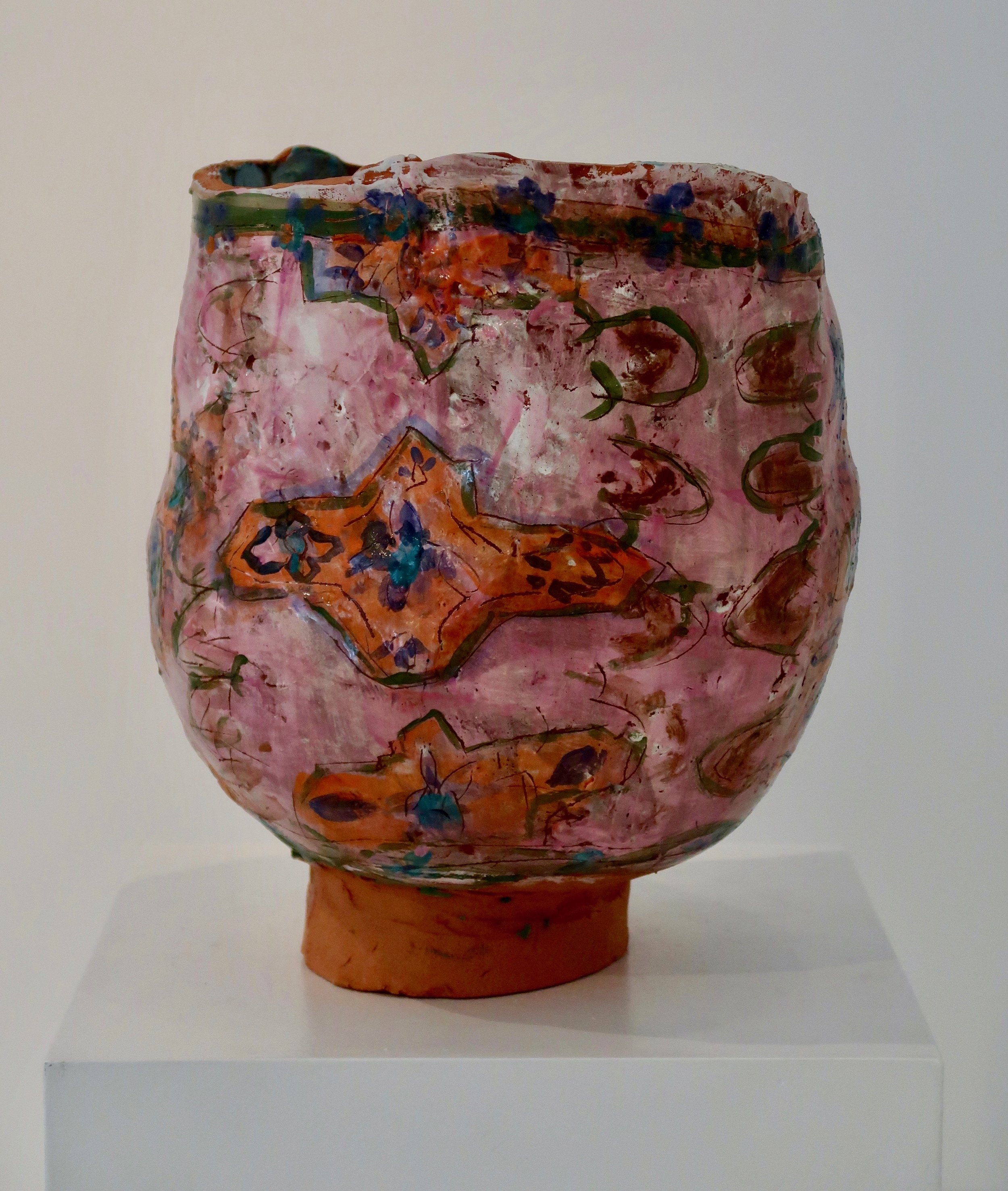 JR#09, Pink and Orange Tapestry, Glazed Stoneware, 13 x 10.6 in (1).jpg