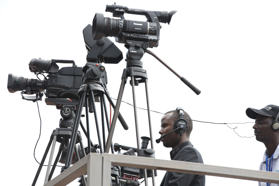 ADMA student and lab monitor Patrick Ndaruhutse operates the center camera filming the featured speakers throughout the day.