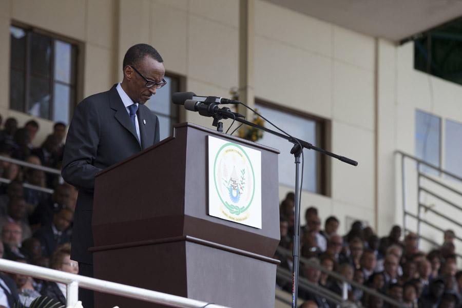 HE President Paul Kagame speaking during Kwibuka20 at Amahoro Stadium.