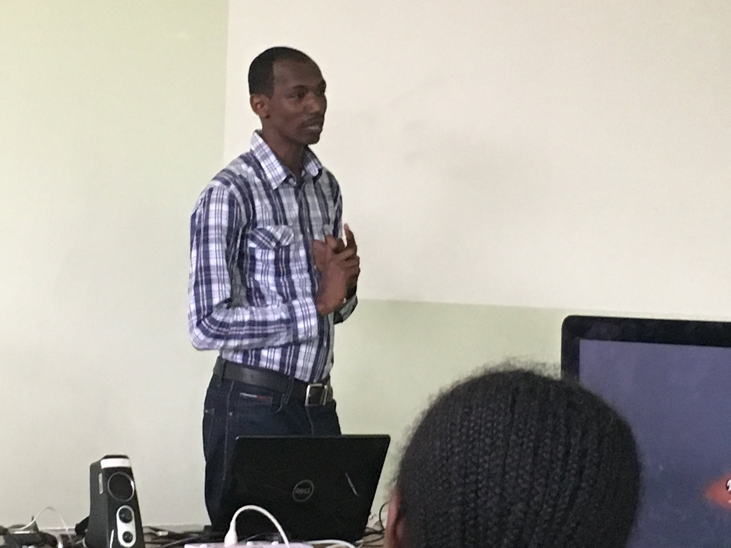 Faustin Niyigena Discussing His Journey To Be A Professional With ADMA Students