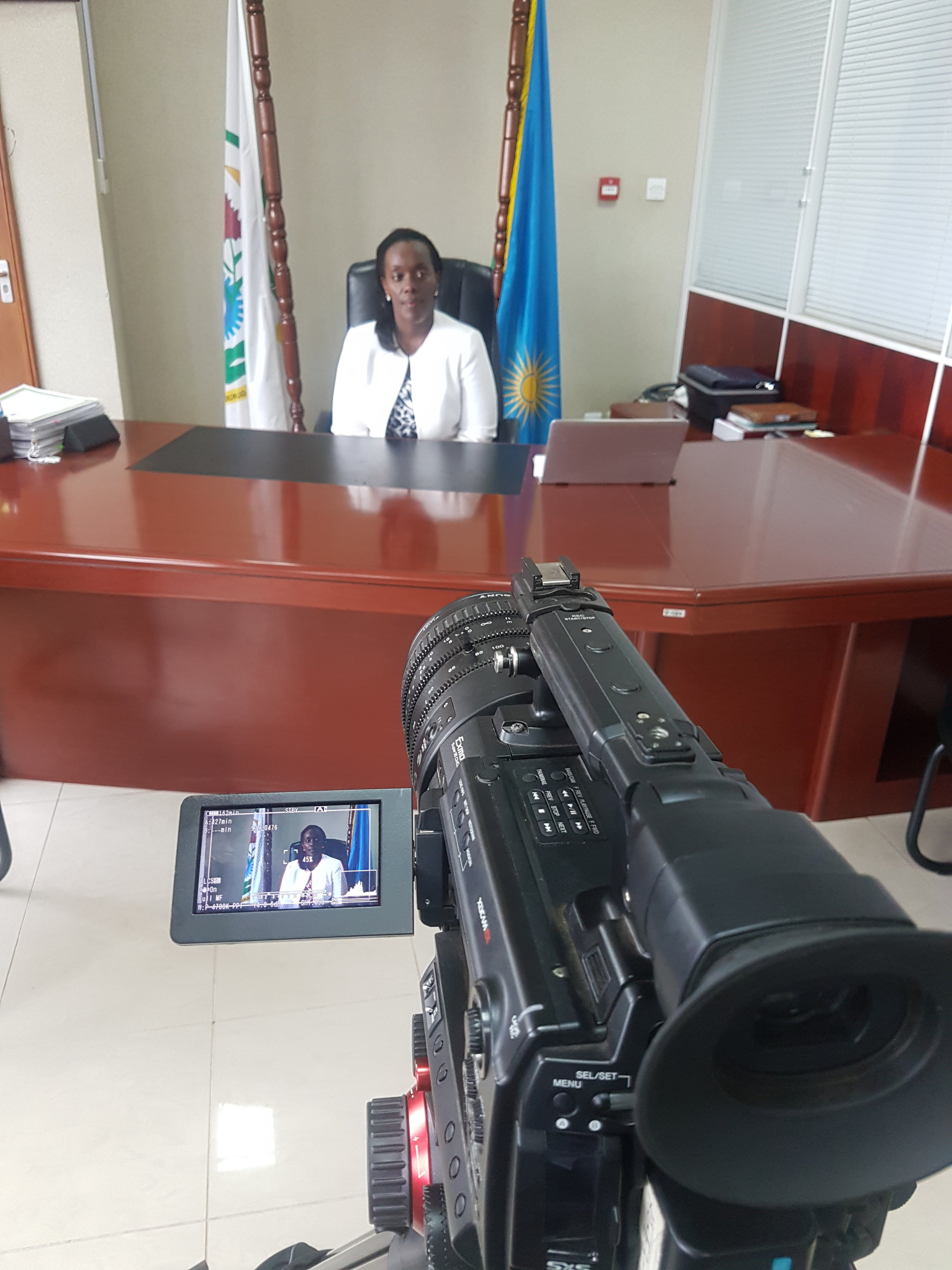 The Sony PMWF3 with zoom lens capturing the interview with the Minister Of Health, Dr. Diane GASHUMBA.