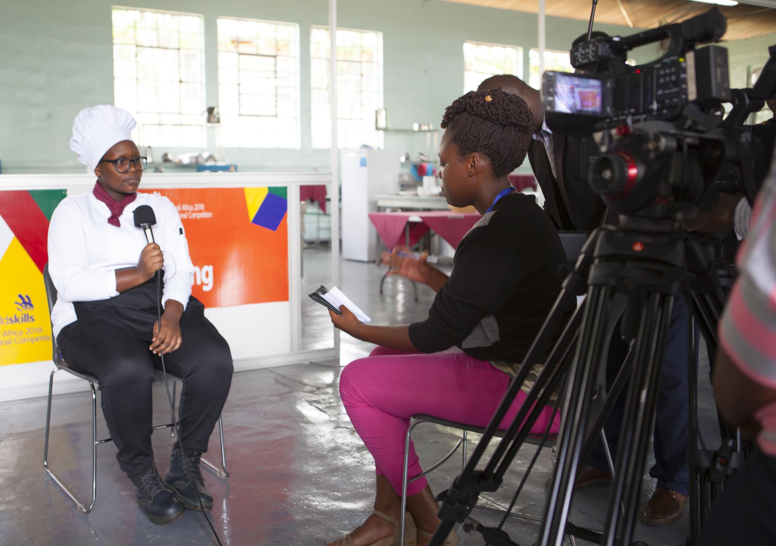 ADMA student Sandrine Iragena conducting an interview