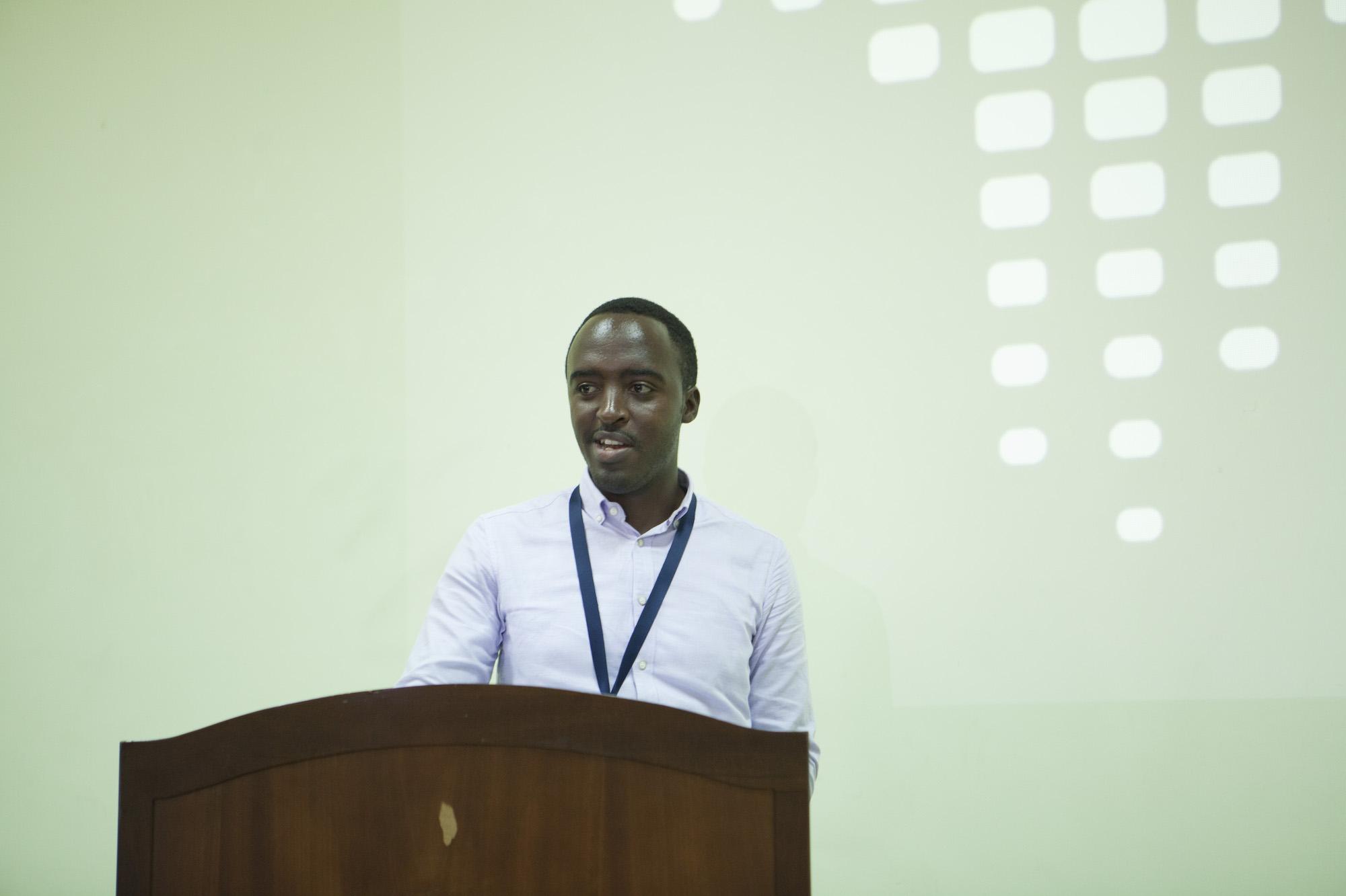 Clement KABILIGI of Imbuto Foundation giving a speech to the ADMA graduates.