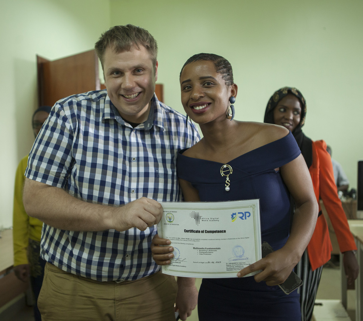 ADMA Instructor Ryan Yewell and ADMA Graduate Liliane Ikuze.