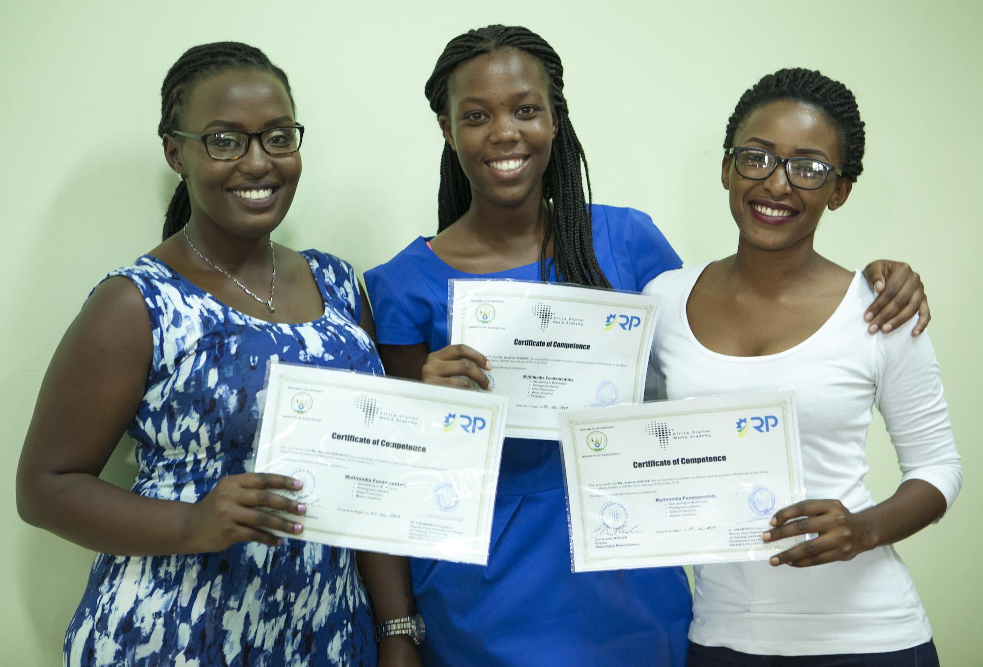 ADMA Graduates (left to right) Barbara, Sandrine, and Adeline.