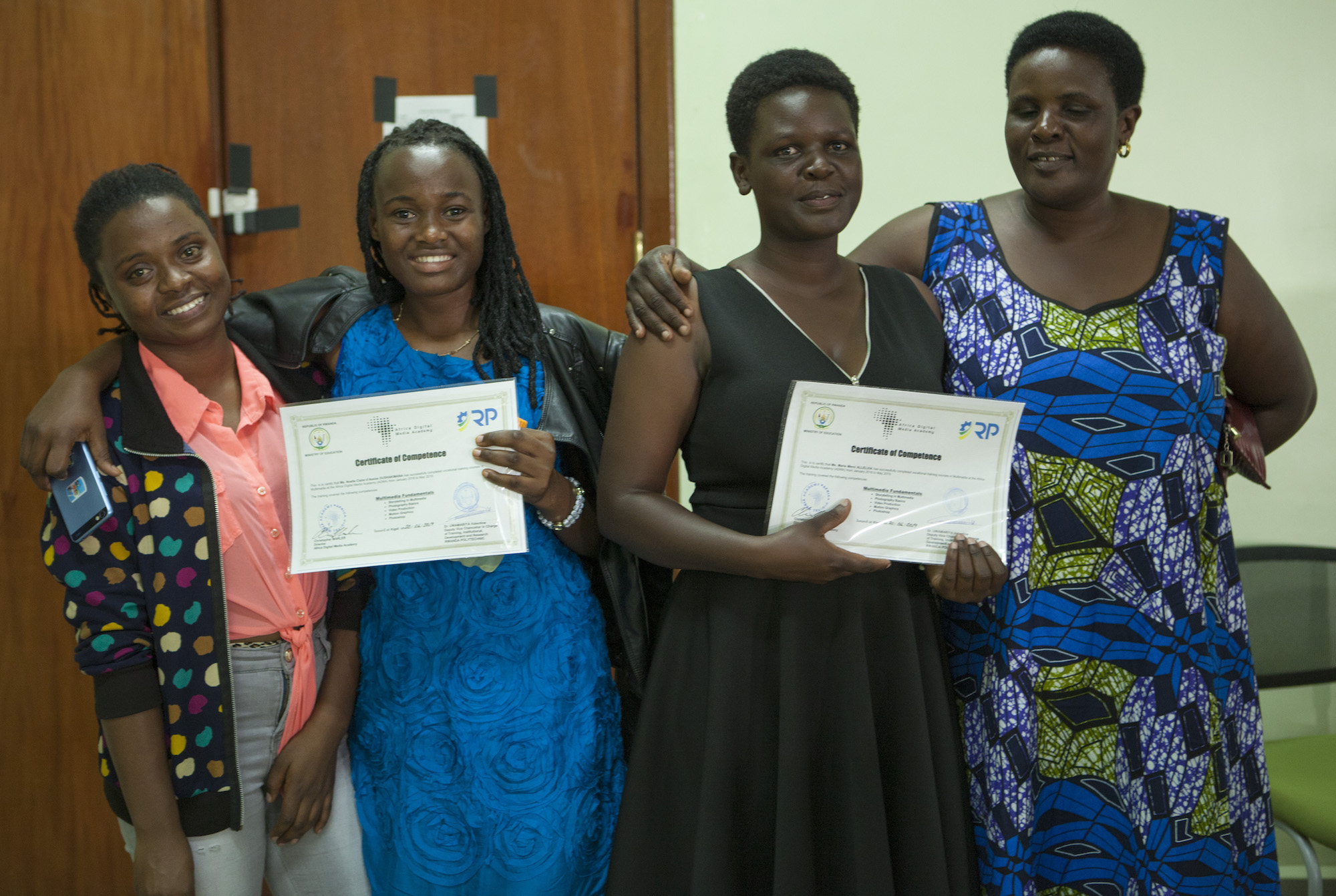 Photo with ADMA graduates and their guests Noella Claire (and sister) and Marie Mercie (and mother)