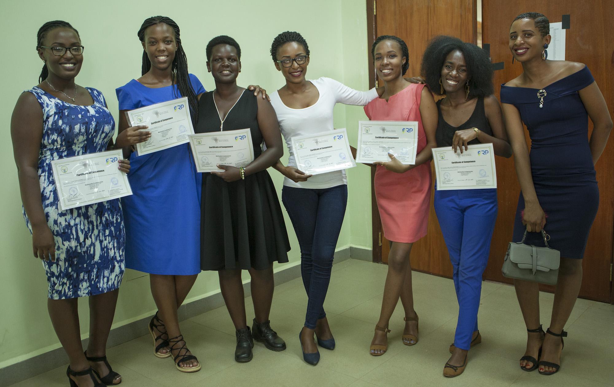 ADMA Graduates (left to right) Barbara, Sandrine, Marie Merci, Adeline, Sharon, Sandrine, and Liliane.