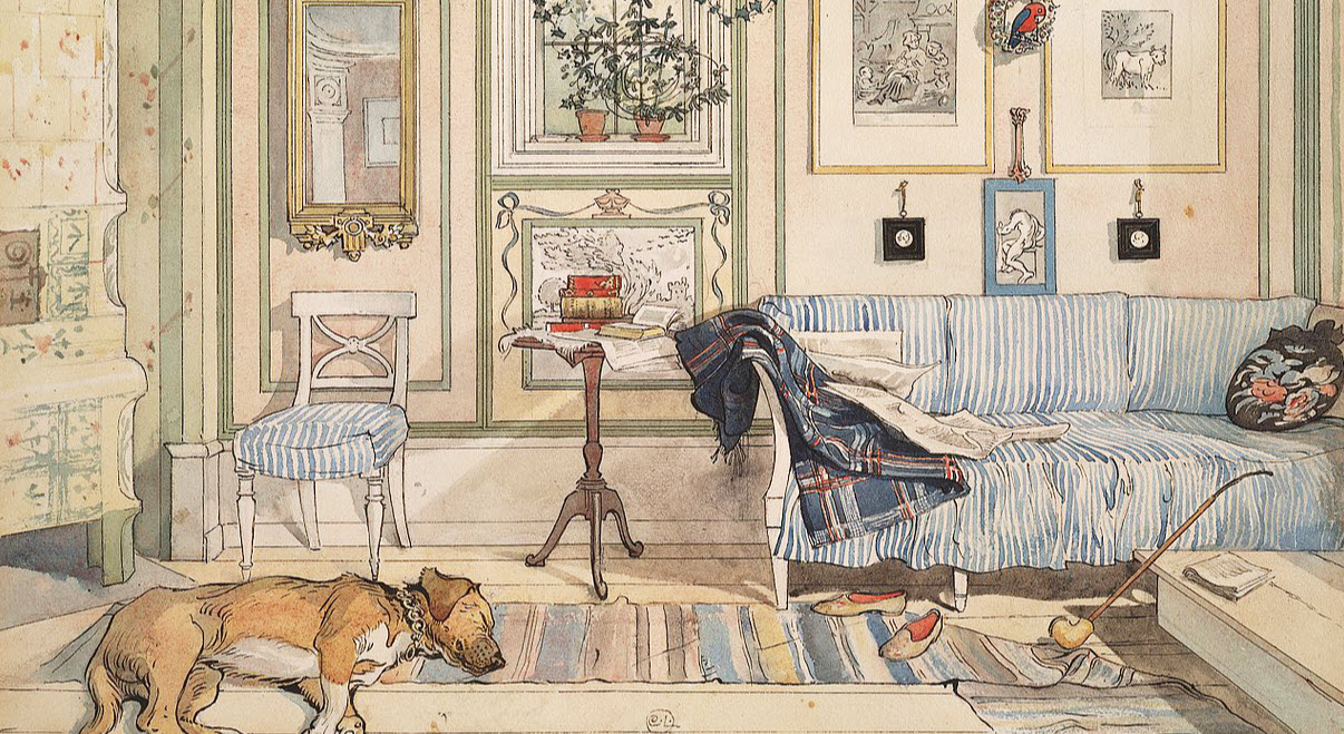RUGS WITH A RICH HISTORY - Swedish rugs in all their beautiful colors and patterns have hundreds of years of history in homes ranging from grand to cottage to farmhouse to city flat. Their longevity is a tribute to their worthiness as a handwoven textile that is useful, practical and an artistic expression of an artisan. Painting by Carl Larsson circa 1894