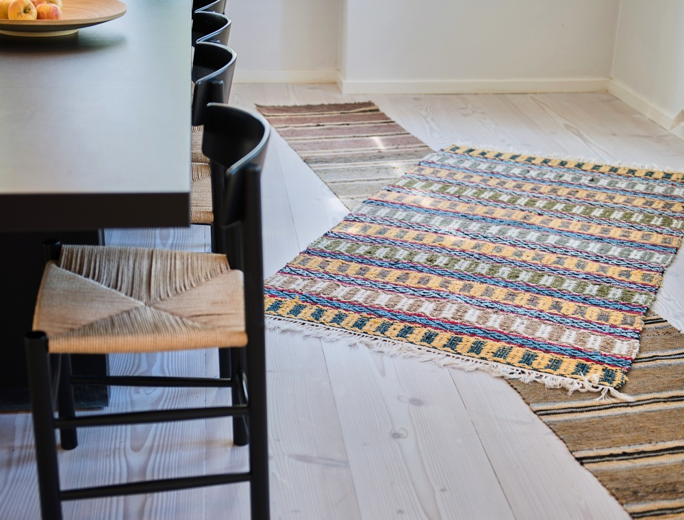 The intersection of style and practicality - Each Swedish rug is skillfully handwoven and each, a piece of art. Our collection of vintage and new Swedish rugs span the entire 20th century and step a toe into the 21st.Each artisan, weaving a rug in her (typically a female's) own home on a wooden loom imparts the highest standards of skill, design and use of color and texture to tell a story, one that lasts for generations. Take a look at the many ways to use our Swedish rugs in your home. And they last - forever!