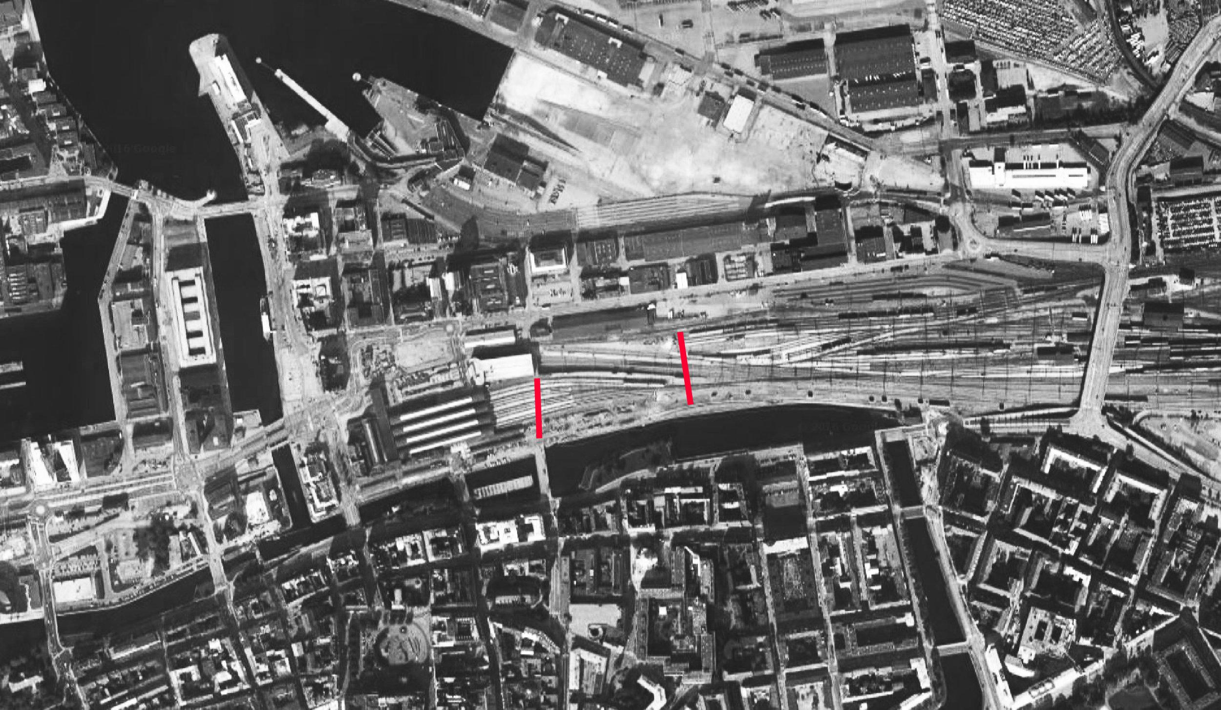 Malmø med de kommende broers omtrentlige linjeføringer markeret med rødt