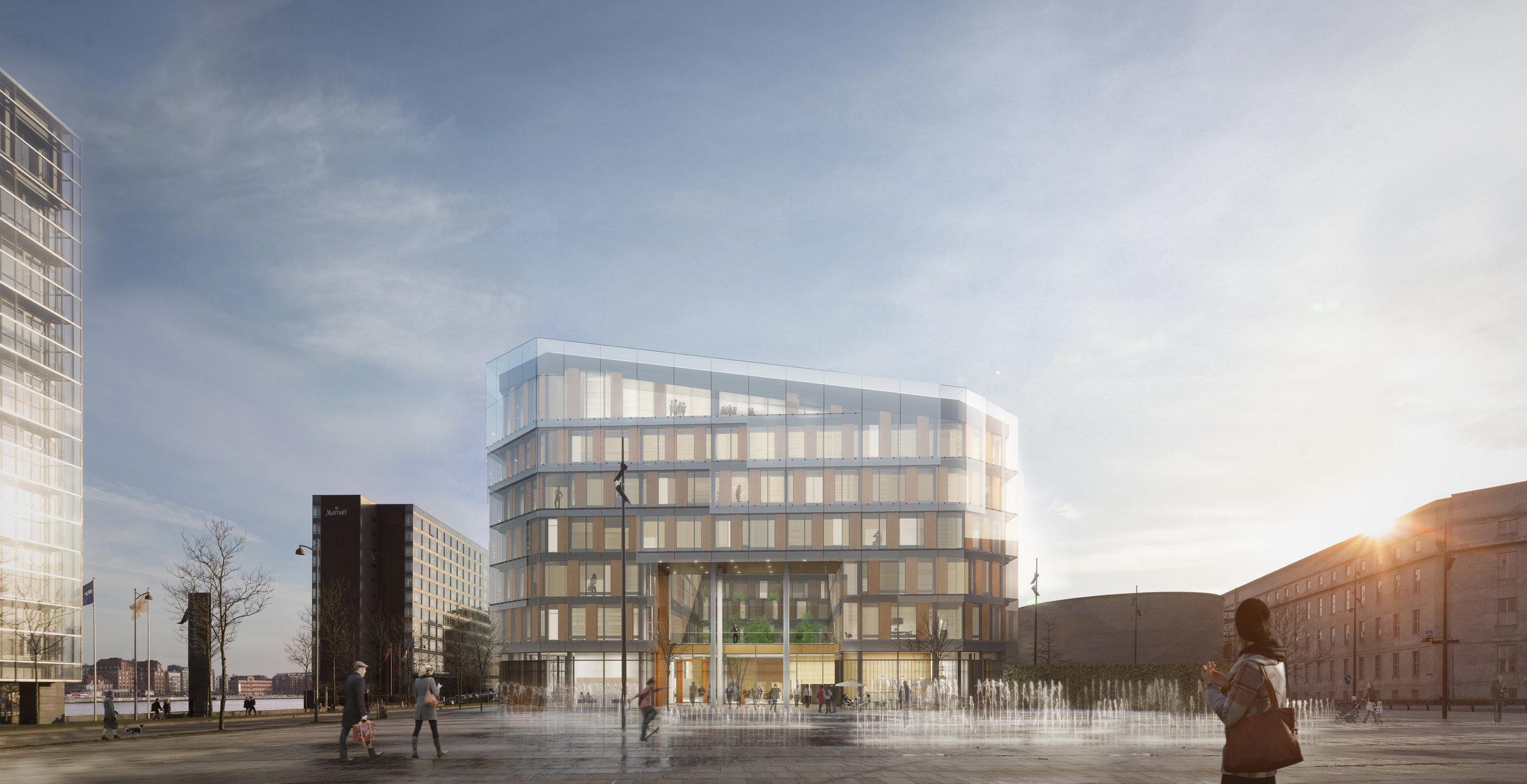 Det nye Hotel Spectrum får en åben stueetage med caféer, restauranter og barer, der åbner sig mod byen og kan bidrage til at skabe ny puls i kvarteret ved Kalvebod Brygge.
