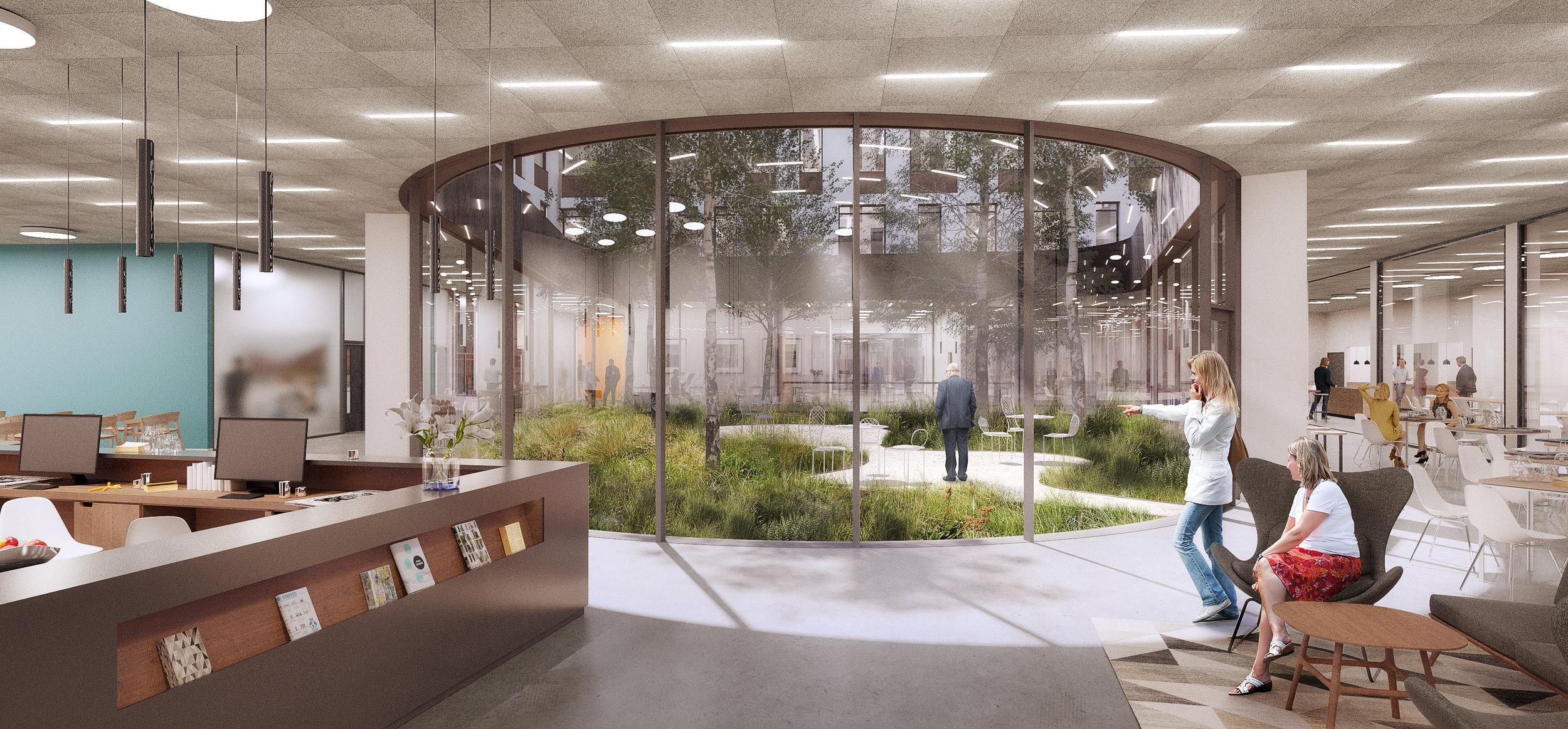 Fælles atriumhave, som giver lys og fælles uderum.