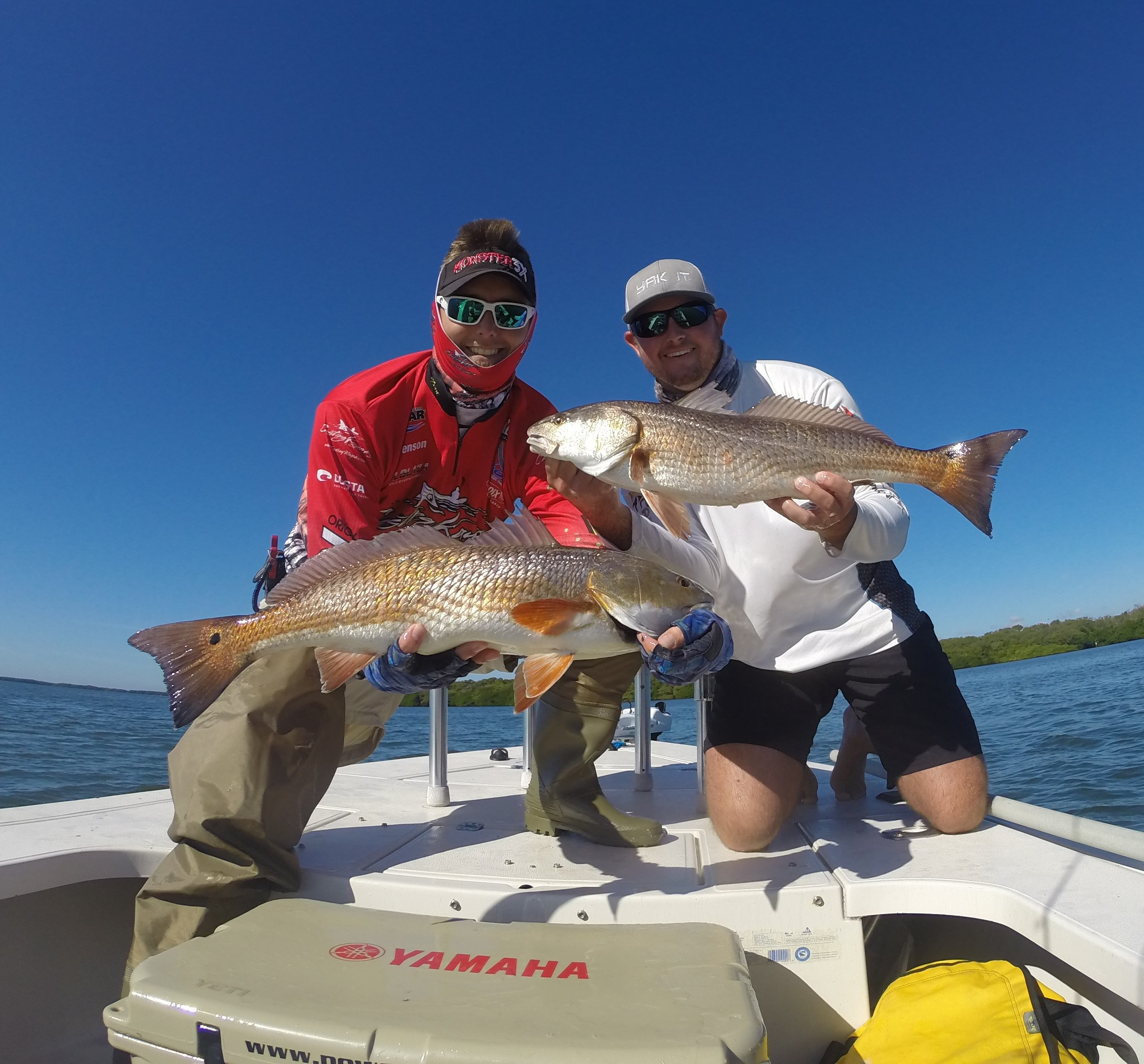 1st Place & Biggest fish with these two fish on stop #2 Tampa Bay Redfish Tour! Took 5th Place in the overall series 2016