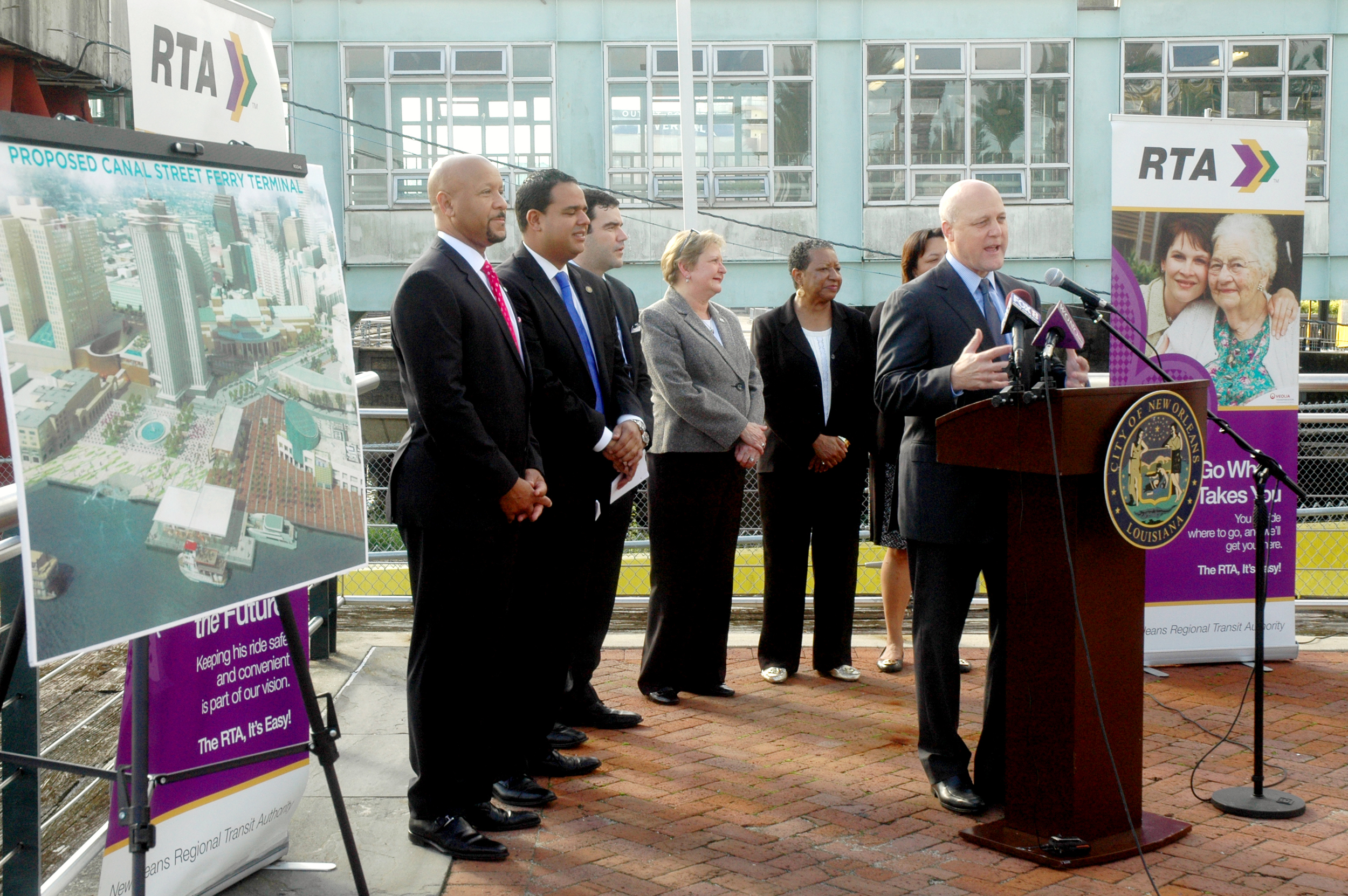 City of New Orleans Mayor Mitch Landrieu announces plans to renovate the Canal Street Ferry Terminal  during a press conference in Woldenberg Park Nov. 5, 2015.
