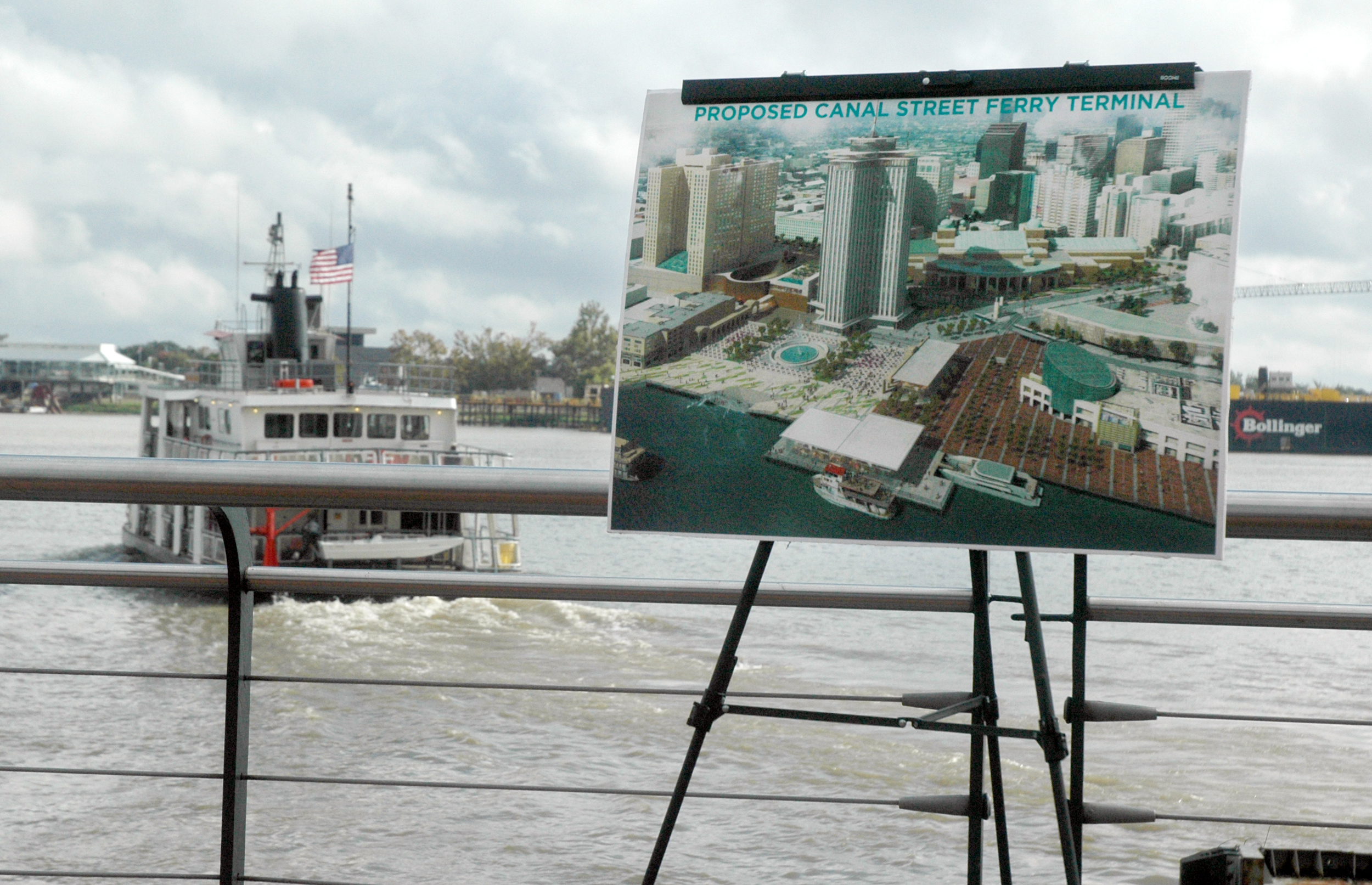 The proposed new Canal Street Ferry Terminal project will include a double ferry dock, new ferry terminal, streetcar access to the convention center, bus bay access and an expanded RTA bus fleet.