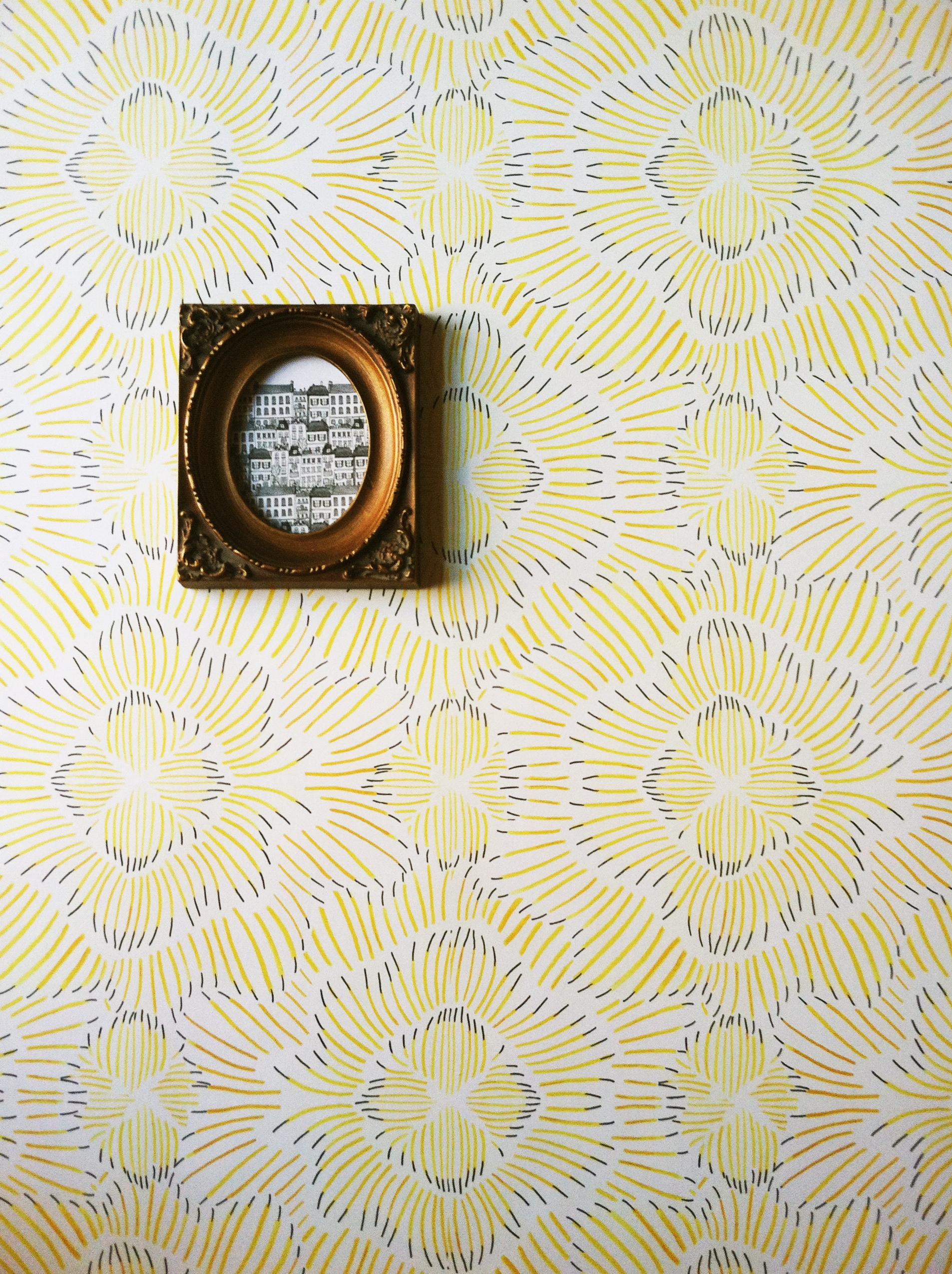 Pinstripe Floral Gold Wallpaper Kate Zaremba Company