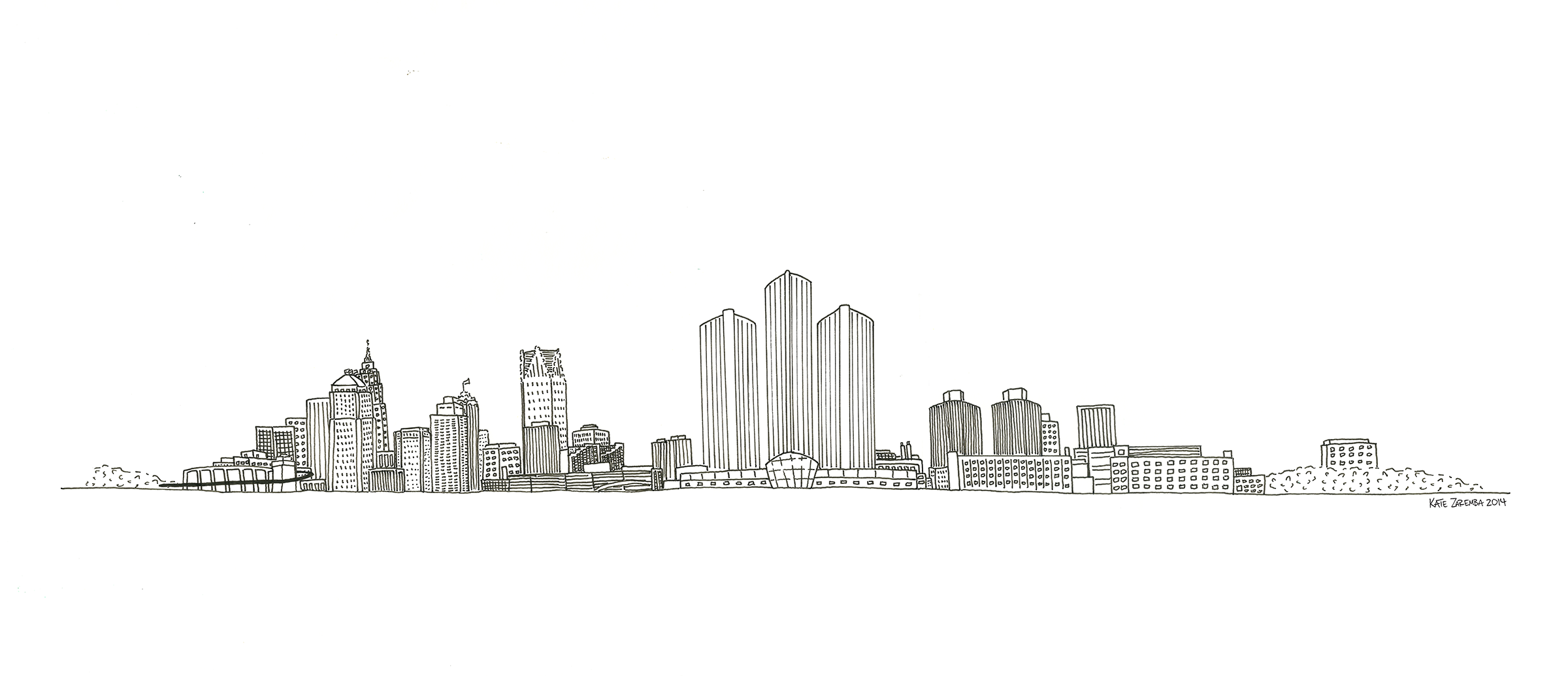 Detroit Skyline by Kate Zaremba 2014