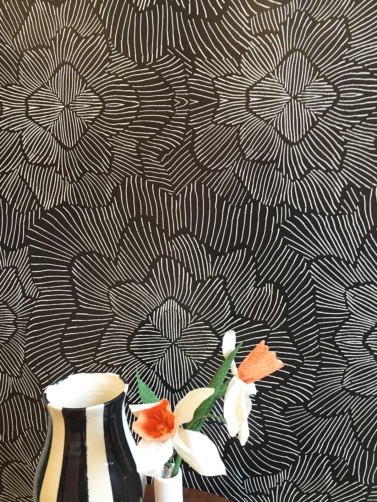 Pinstripe Floral Navy Wallpaper Kate Zaremba Company