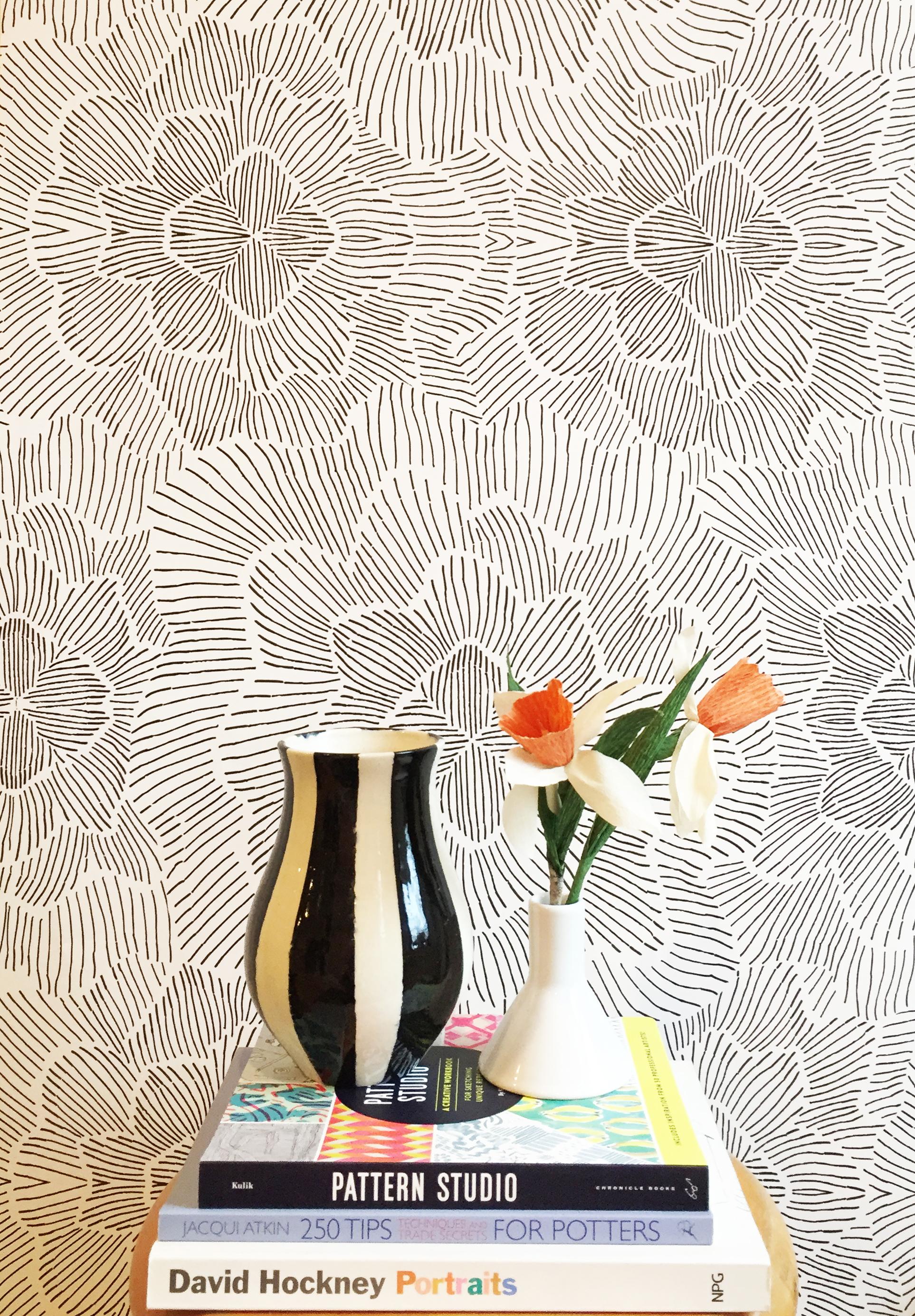 Pinstripe Floral Black And White Wallpaper Kate Zaremba Company