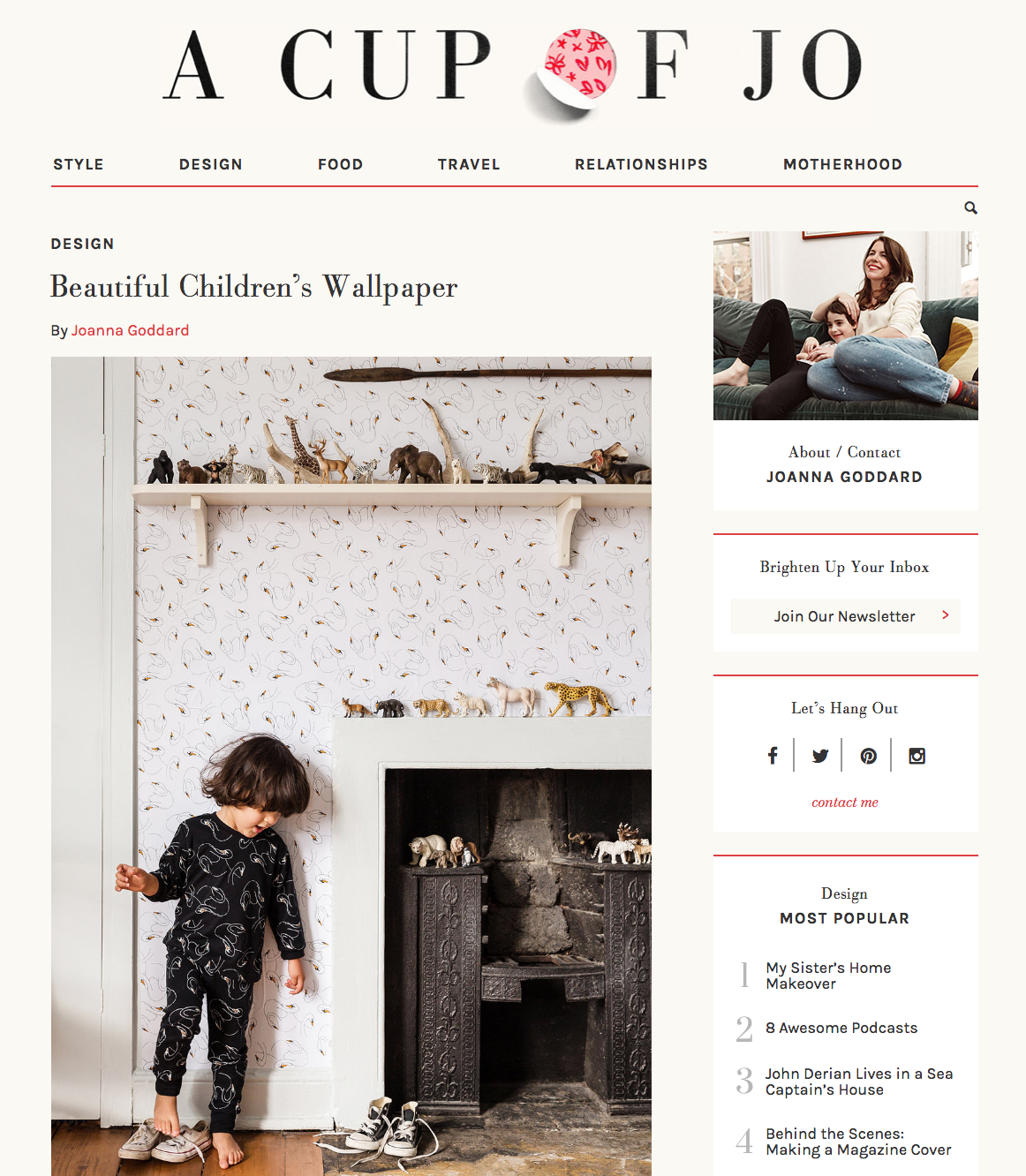 Swansy Wallpaper featured on Cup of Jo May 2019
