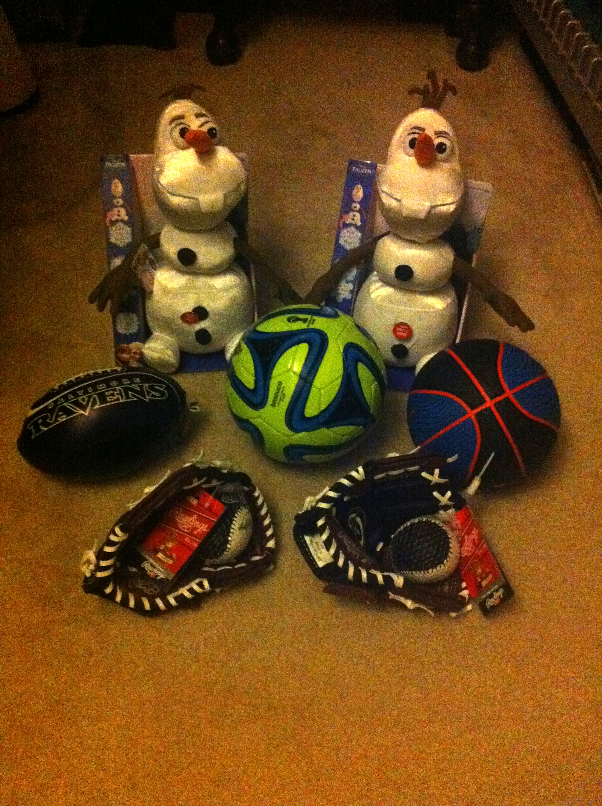 "Olaf from 'Frozen' and a few sporting items are ready for donation this Saturday.   Photo courtesy of Rich ""Will"" Williams."
