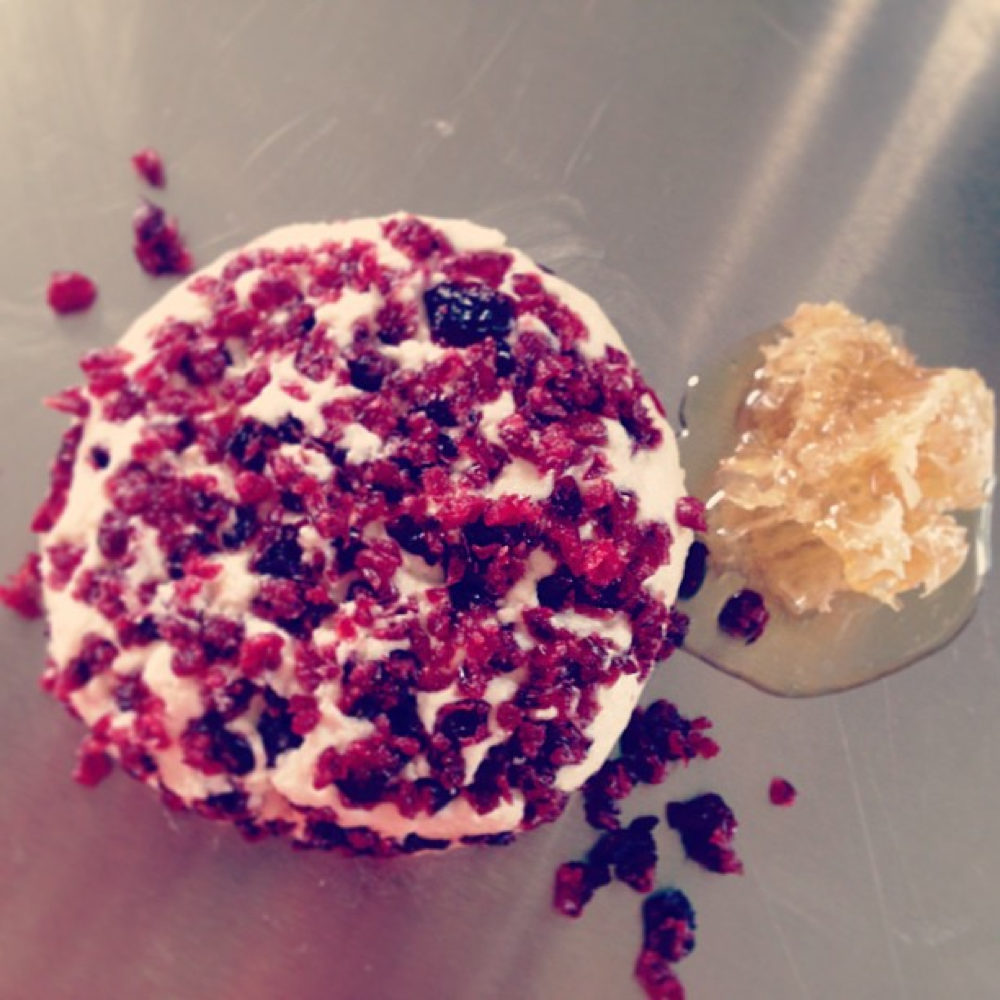 Ruby - our cranberry  chèvre with a touch of honey and cinnamon