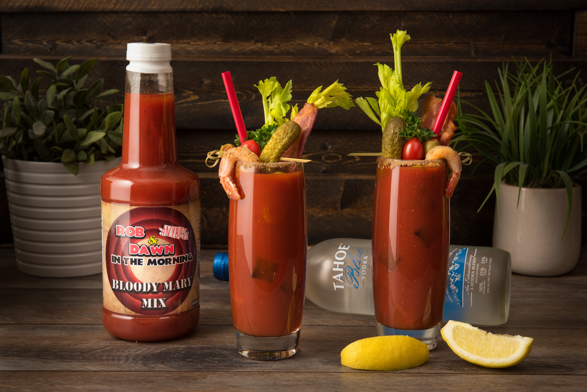 Rob Anybody & Dawn Bloody Mary Mix with Tahoe Blue Vodka