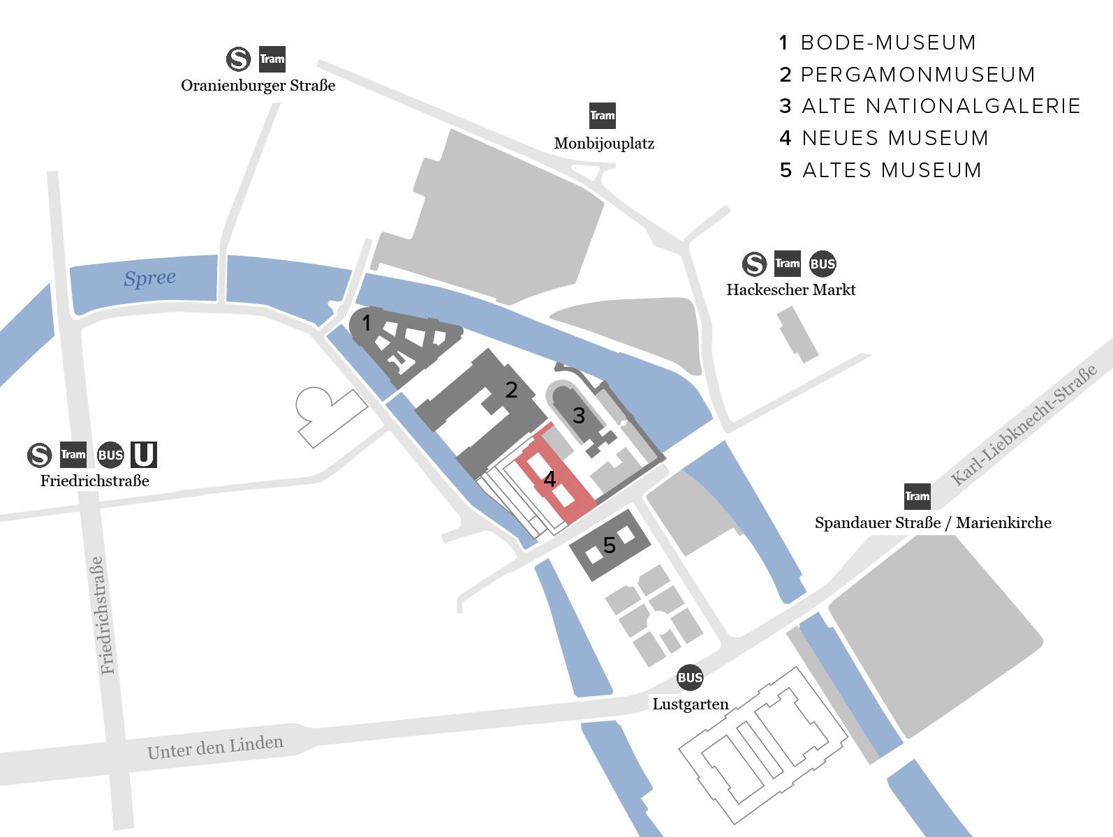 Führung Museumsinsel Berlin Karte Plan Übersicht ARIADNE Neues Museum