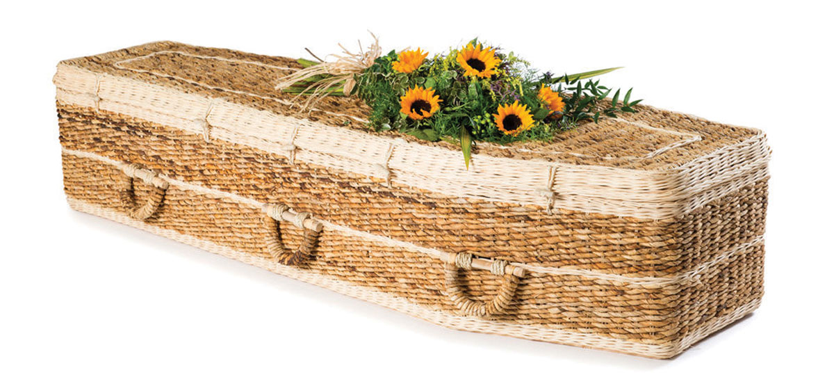 Green, or woodland, burials are on the rise. The body is wrapped in a plain shroud made of natural fibers and placed directly in the ground or in a biodegradable coffin made of bamboo or seaweed or unfinished pine or oak or handwoven willow baskets, such as those available at Ecoffins. There are typically just simple markers, such as trees, or locations are only identifiable by GPS.