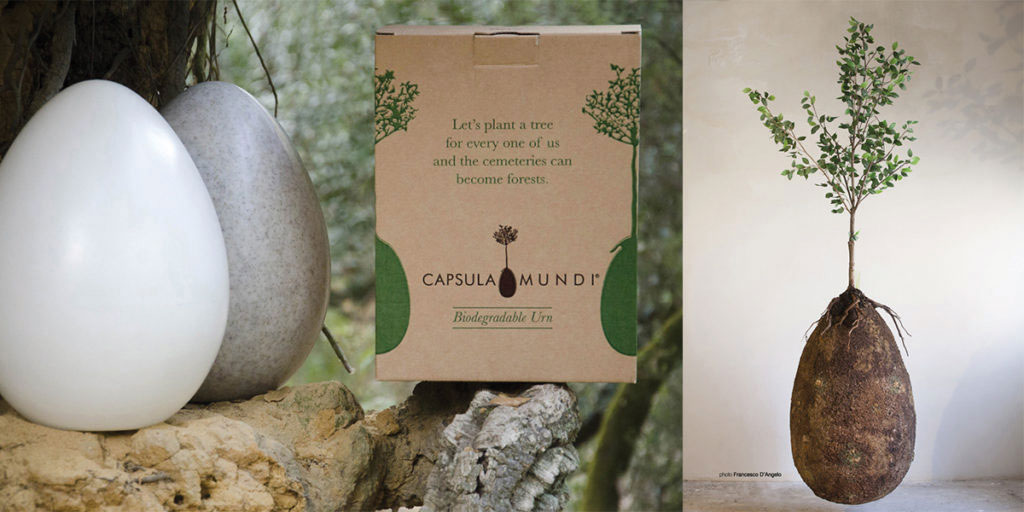 An Italian art project made waves with its biodegradable egg-shaped burial pods called Capsula Mundi. The buried body or ashes feed a tree planted directly above, creating an Instagrammable eco-memorial.