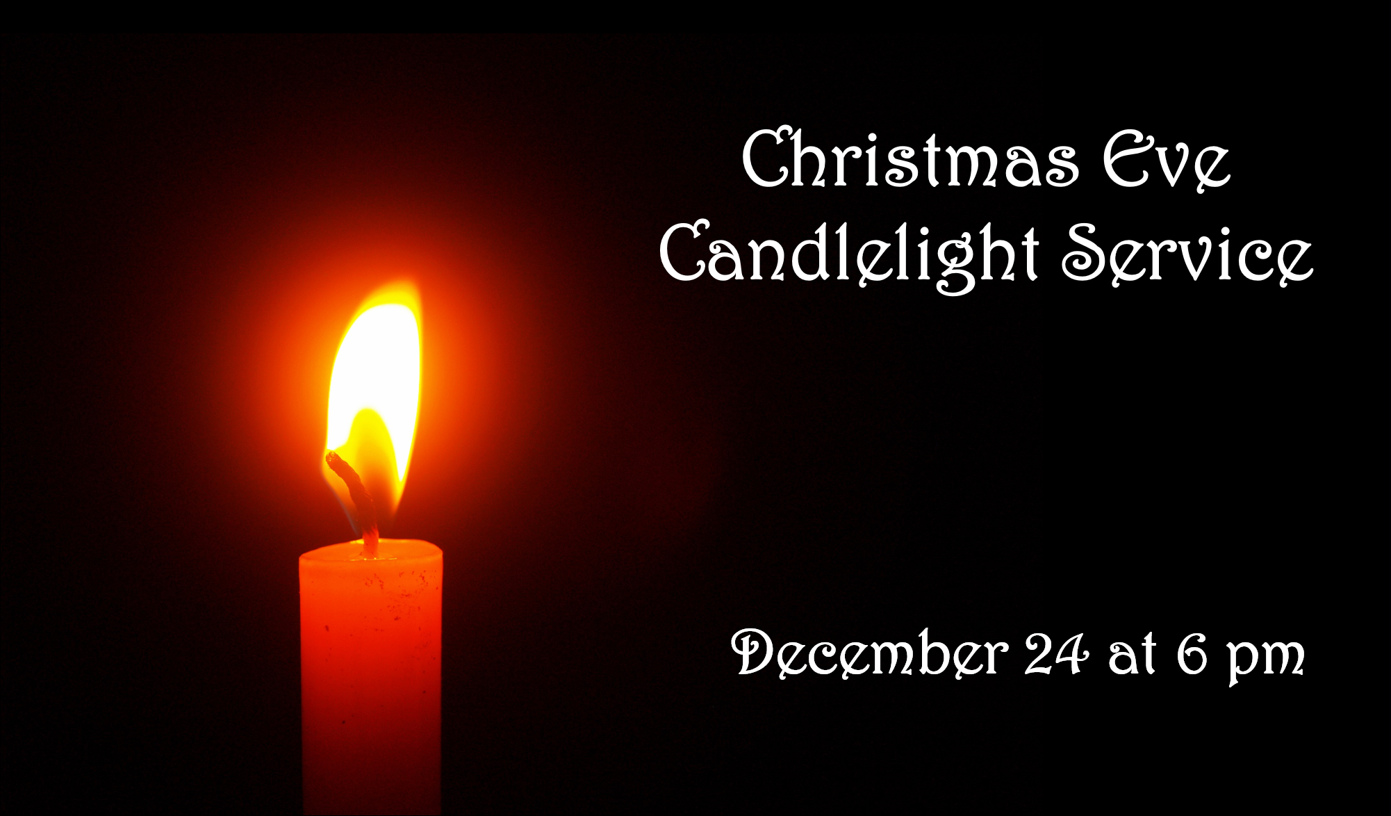 This year we will combine our Christmas Eve candlelight service with our weekend service and have ONE service at 6:00 PM on Christmas Eve. (No Sunday Service.)   Join us as we celebrate the birth of our Savior. There will be Christmas carols, worship, scripture reading and more culminating in the lighting of candles. Nursery will be available.