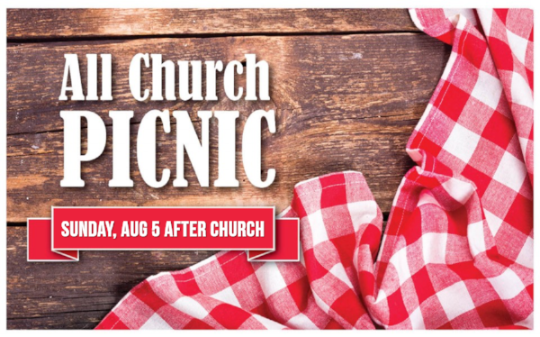 Join us for an all church picnic at Walla Walla Park Shelter #1 following our morning service on Sunday, August 5. Our very own Randy James is making his famous pulled pork sandwiches and more. You won't want to miss this!