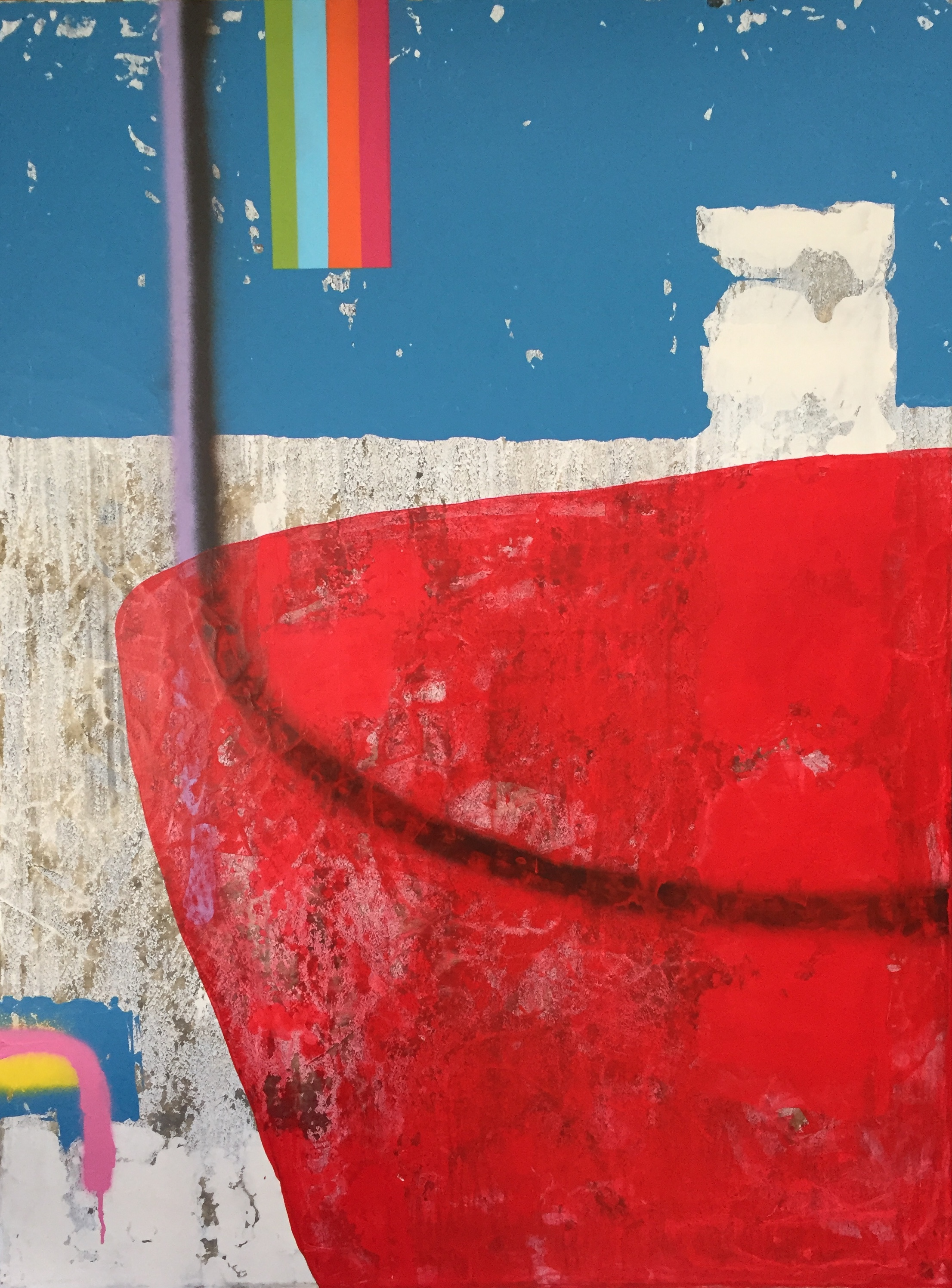 """""""Under The Rainbow"""" - acrylic, spray on canvas, 30 x 40"""