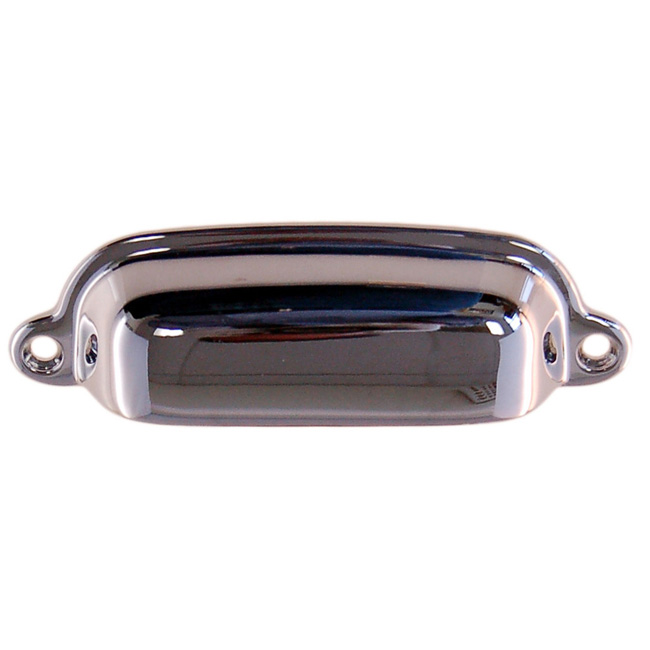 2361115-PC Bin pull 3-3/8in ctc 3-3/4in overall. Solid brass with polished chrome finish. Available in seven finishes.