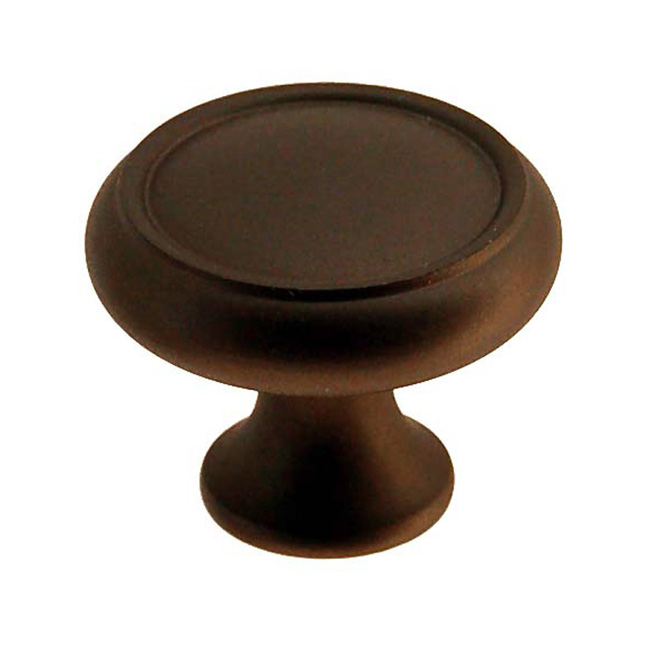 2361434-OB Elegant cabinet knob 1-1/4in dia. Solid brass with oil rubbed bronze finish.