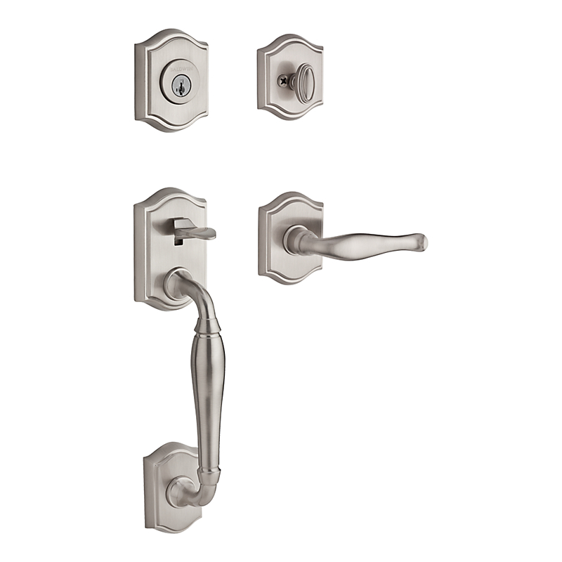 110 Westcliff Entry set with decorative lever in satin nickel.  Six finishes available and several alternate interior options.