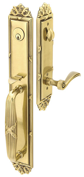 129 Imperial Entry set full plate with elan lever in french antique finish.  Available mortise or tubular in five finishes.  Offers many option for interior knob or lever.