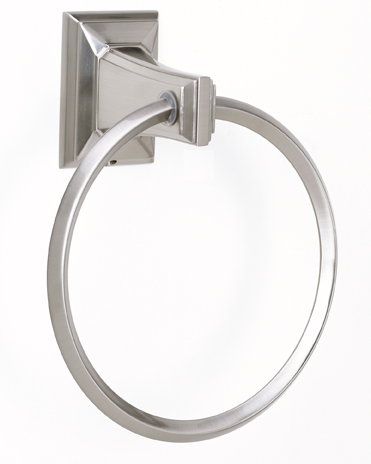 106A7940-SN Geometric towel ring shown in satin nickel.  Available in seven finishes.